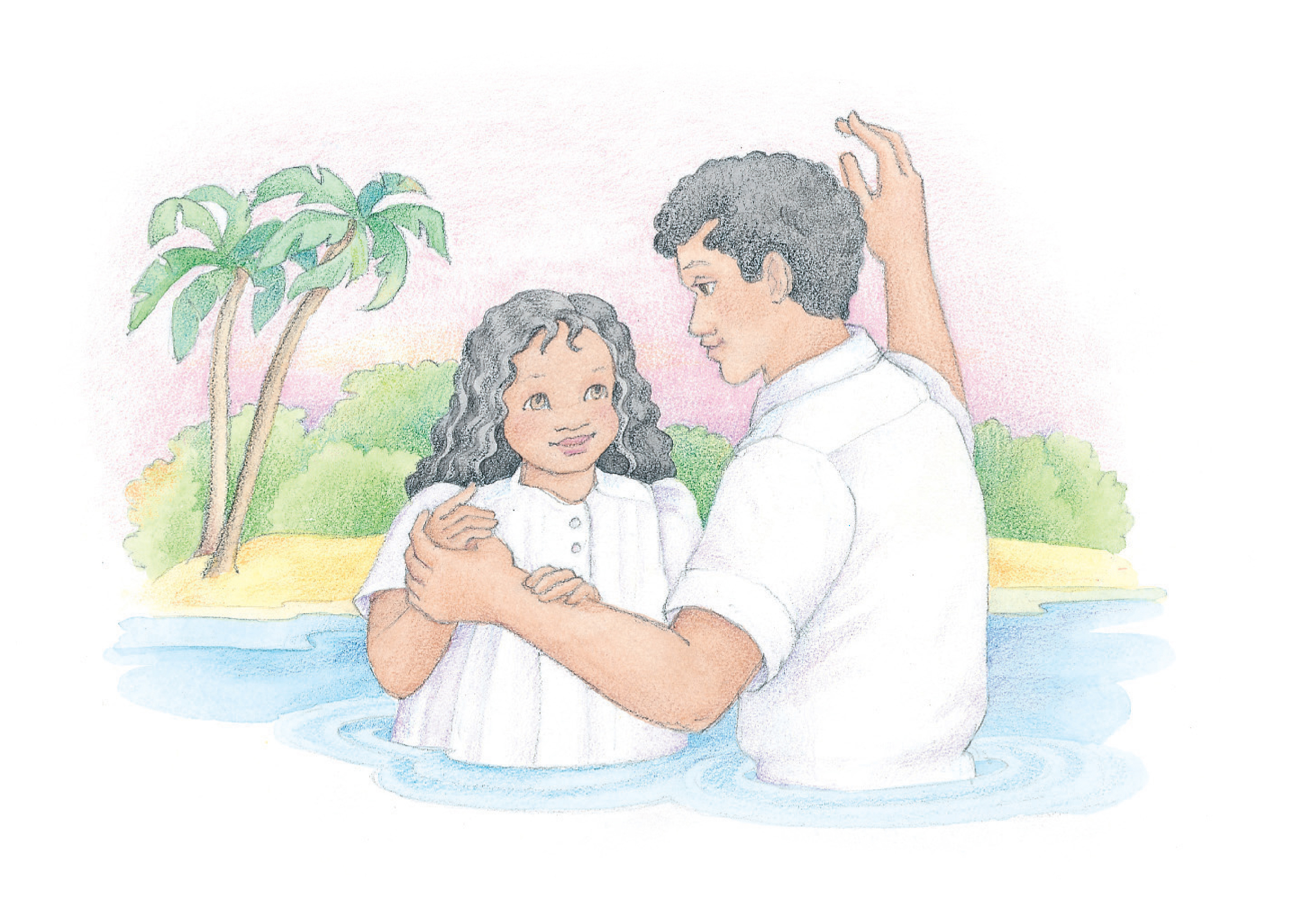 """A girl being baptized by her father. From the Children's Songbook, page 101, """"Baptism""""; watercolor illustration by Phyllis Luch."""