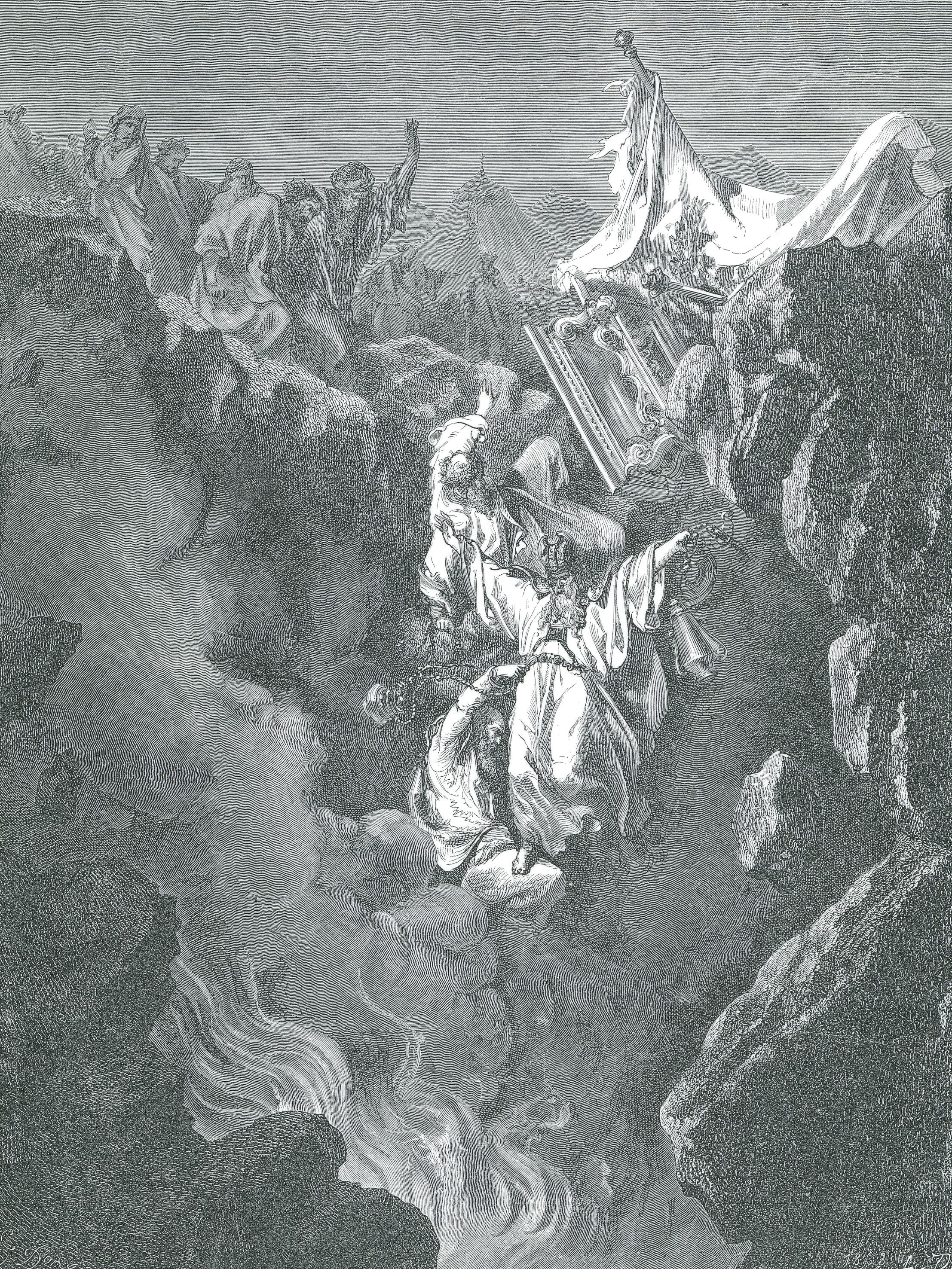 Death of Korah, Dathan, and Abiram, by Paul Gustave Doré