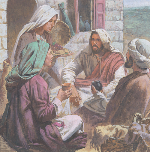 Jesus eating with Mary, Martha, and Lazarus