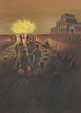 A painting by Jerry Thompson depicting people walking near or holding onto the iron rod leading to the tree of life, with others at the large and spacious building across the ravine.