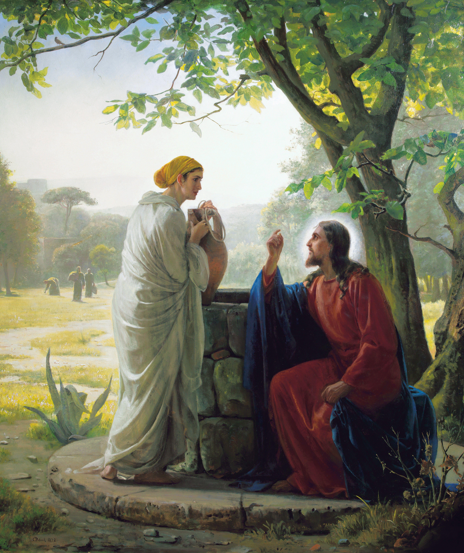 Christ and the Samaritan Woman, by Carl Heinrich Bloch (62169); GAK 217; John 4:3–30, 39–42