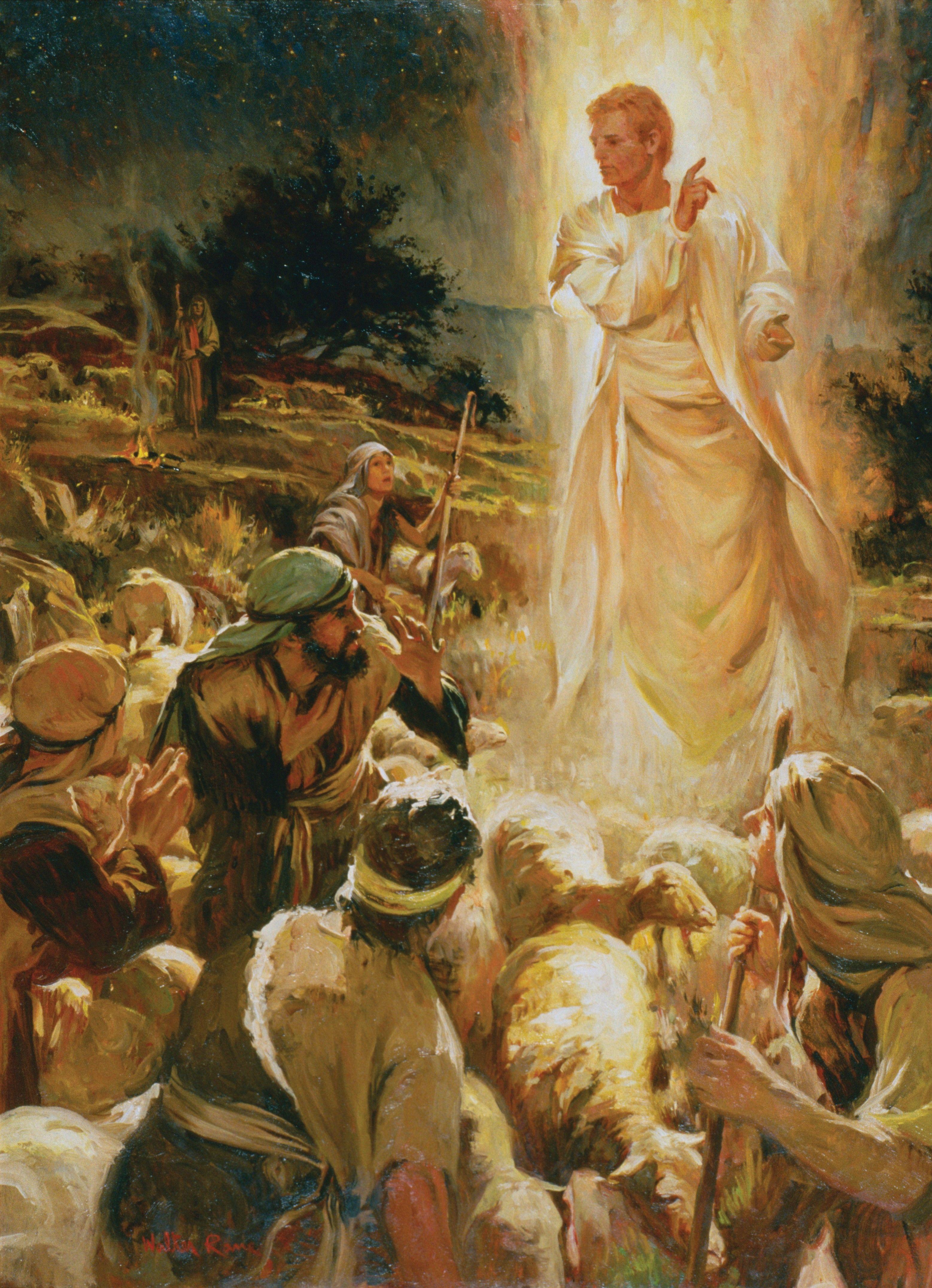 Good Tidings of Great Joy (The Angel Appears to the Shepherds), by Walter Rane; GAB 31; Luke 2:8–9