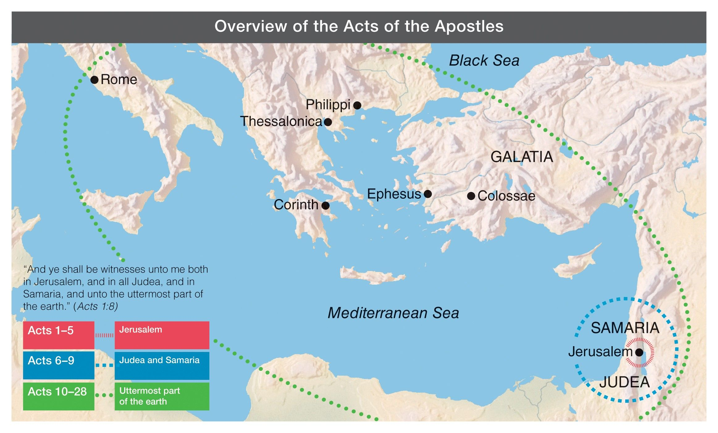 A map of the regions in the book of Acts. © undefined ipCode 1.