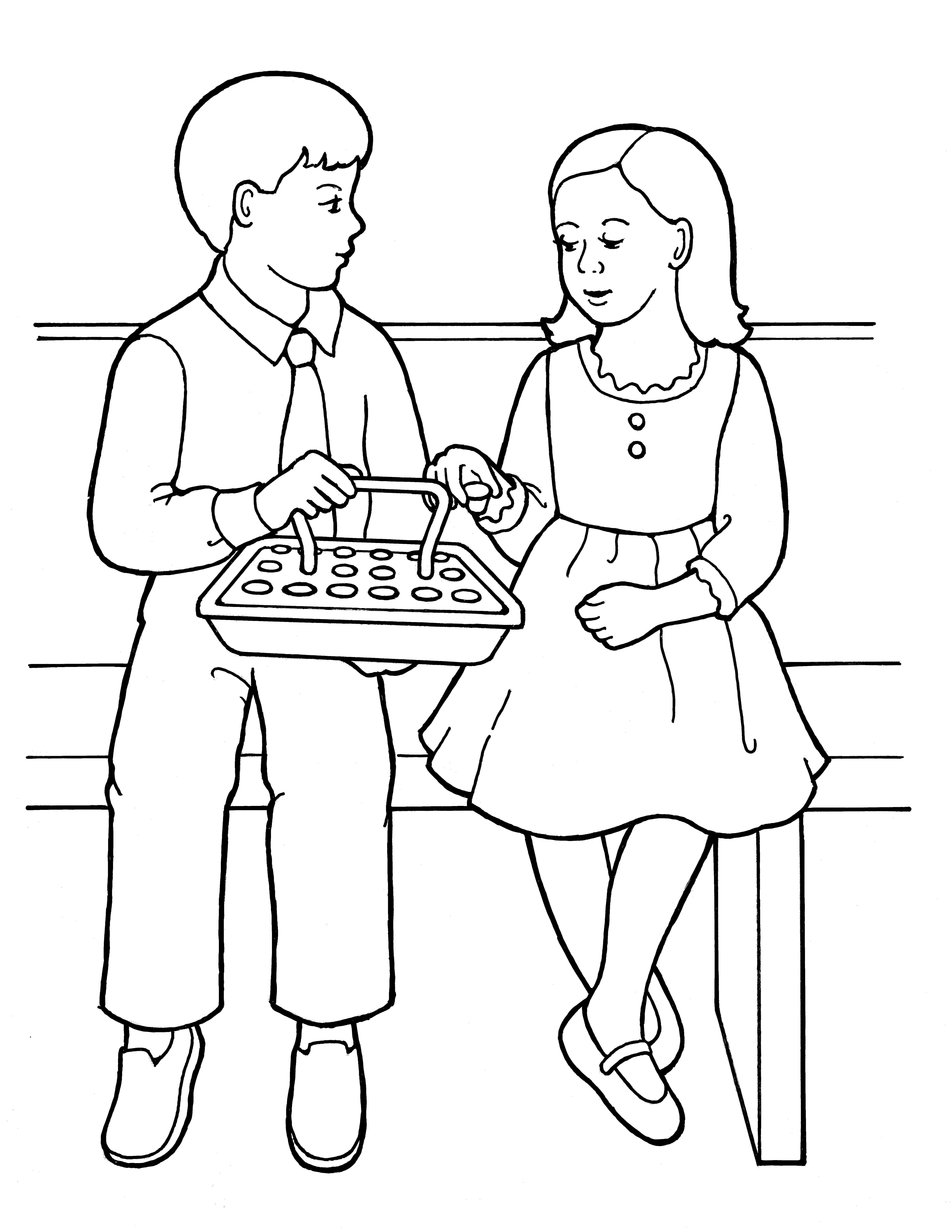 An illustration of a young girl and young boy partaking of the sacrament water, from the nursery manual Behold Your Little Ones (2008), page 115.