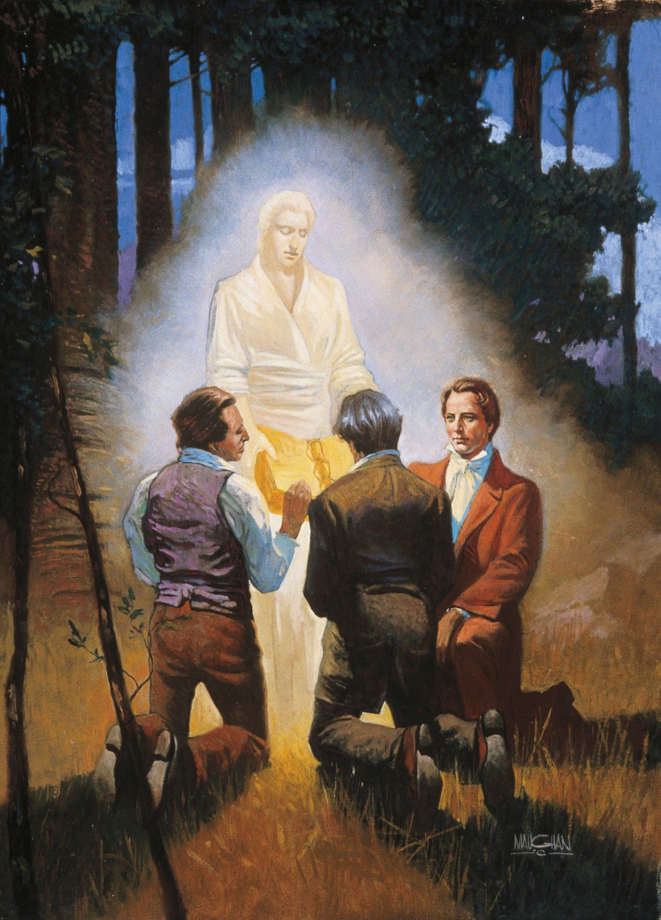 An Angel Showing the Gold Plates to Joseph Smith, Oliver Cowdery, and David Whitmer (Moroni Shows the Gold Plates to Joseph, Oliver, and David), by William L. Maughan; Primary manual 5-17