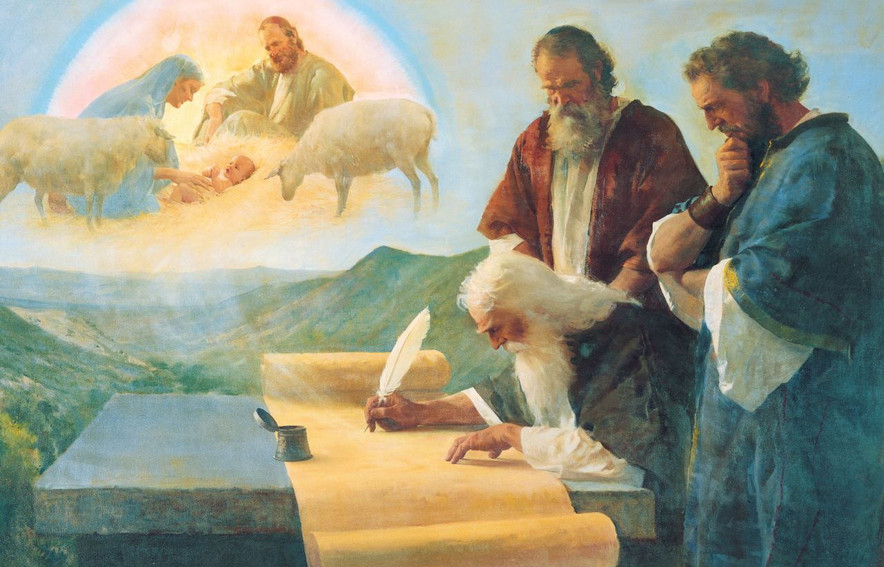 The Bible prophet Isaiah writes a prophecy about the coming and birth of Jesus Christ