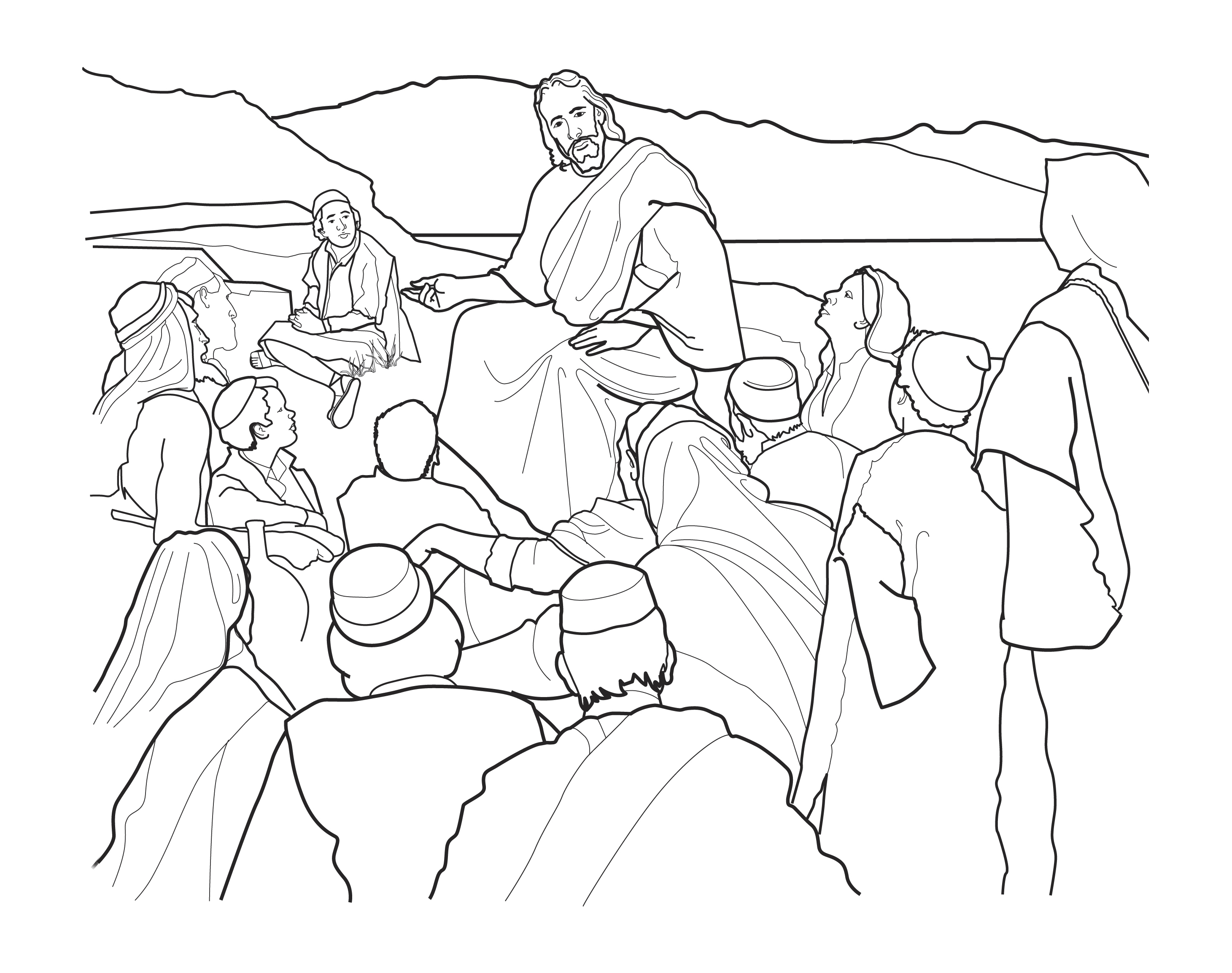 A sketch of the Sermon on the Mount, based on the painting by Harry Anderson.