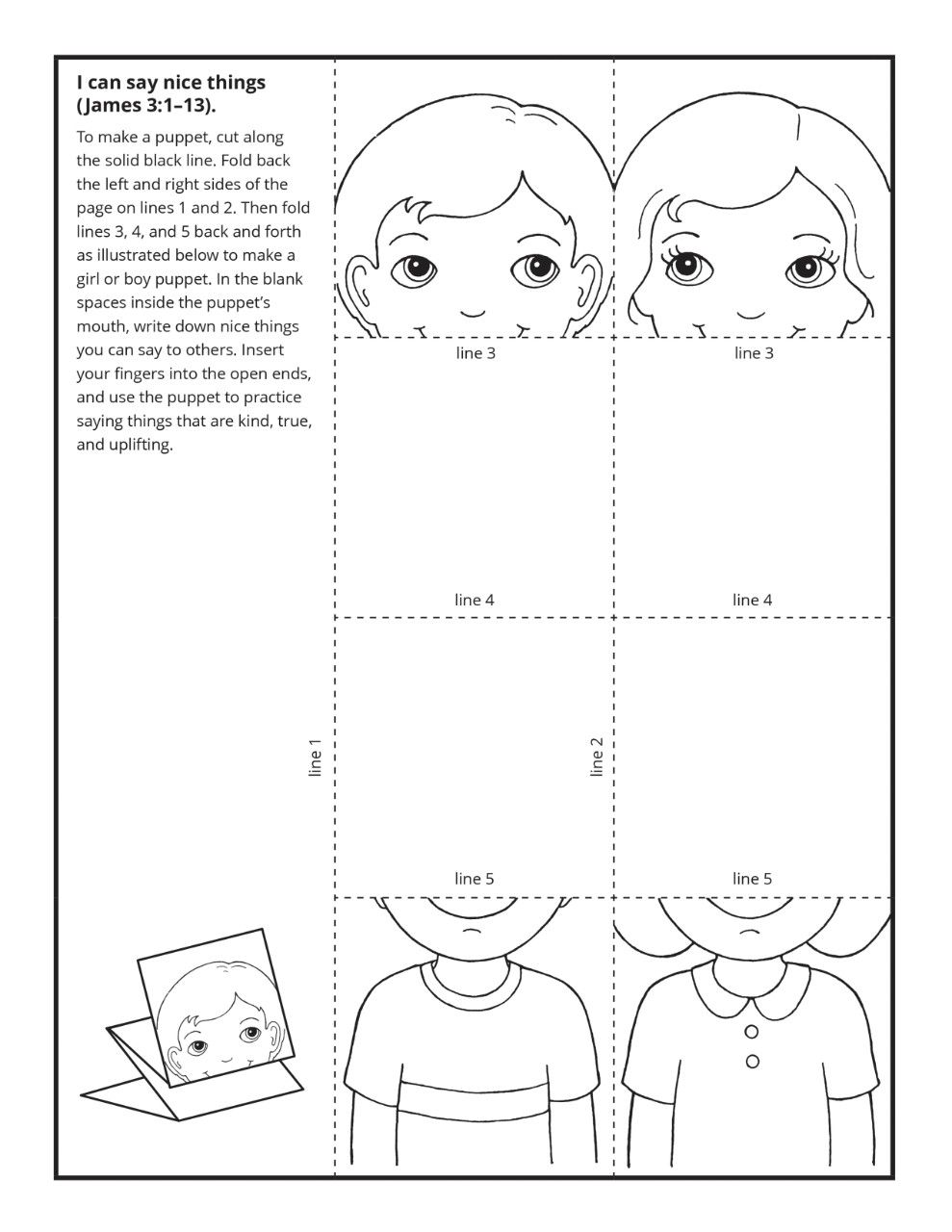A puppet activity to teach about speaking kindly.