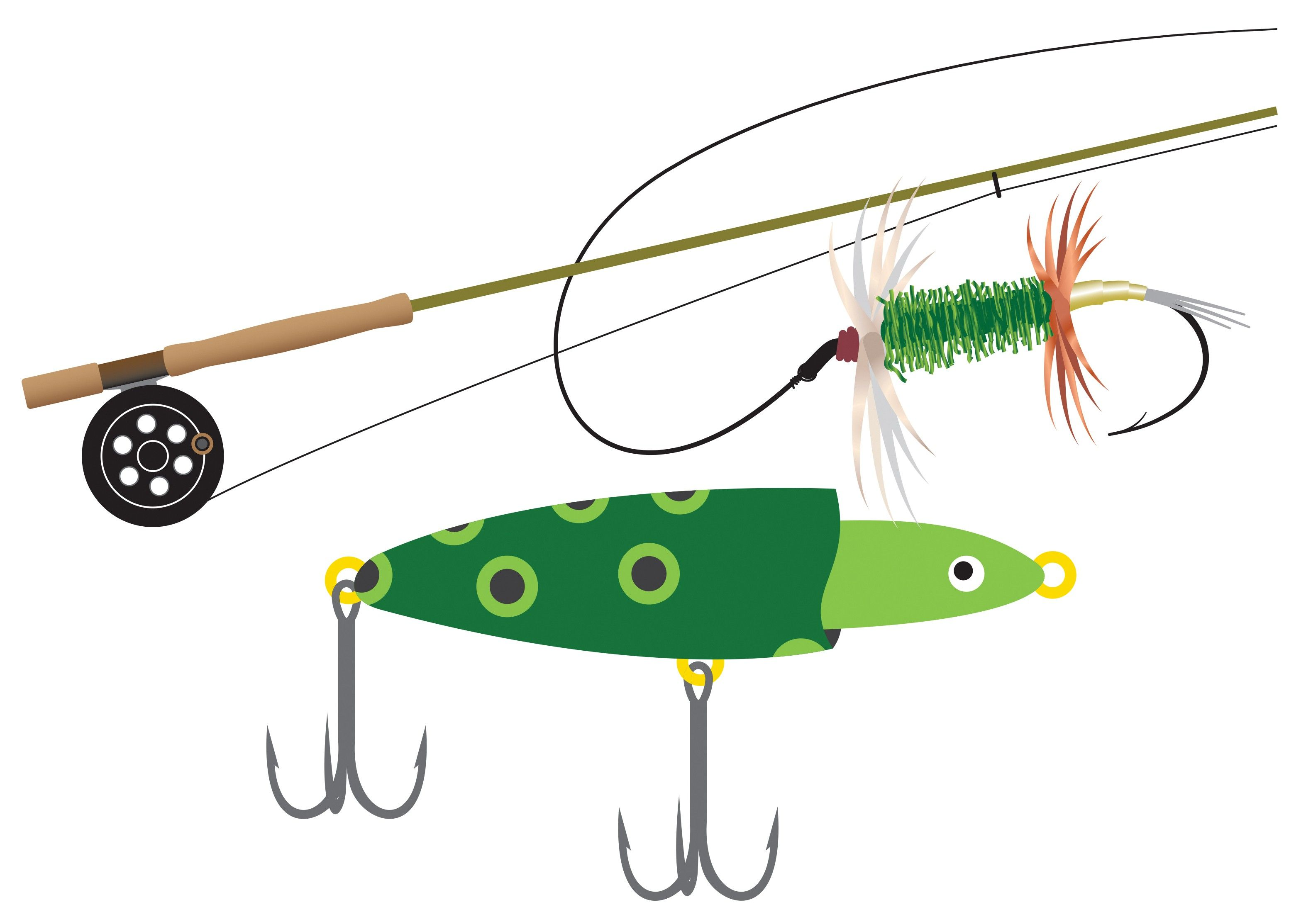 A drawing of a fishing pole and lure.