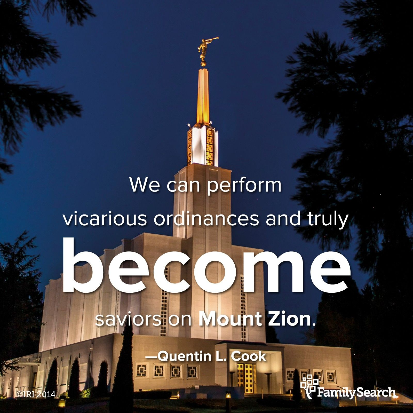 """""""Jesus Christ gave His life as a vicarious atonement. He resolved the ultimate question raised by Job. He overcame death for all mankind, which we could not do for ourselves. We can, however, perform vicarious ordinances and truly become saviors on Mount Zion for our own families in order that we, with them, might be exalted as well as saved.""""—Elder Quentin L. Cook, """"Roots and Branches."""" To find family names that need temple ordinances, visit familysearch.org/findnames."""