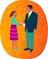 A girl hands an envelop to a church leader