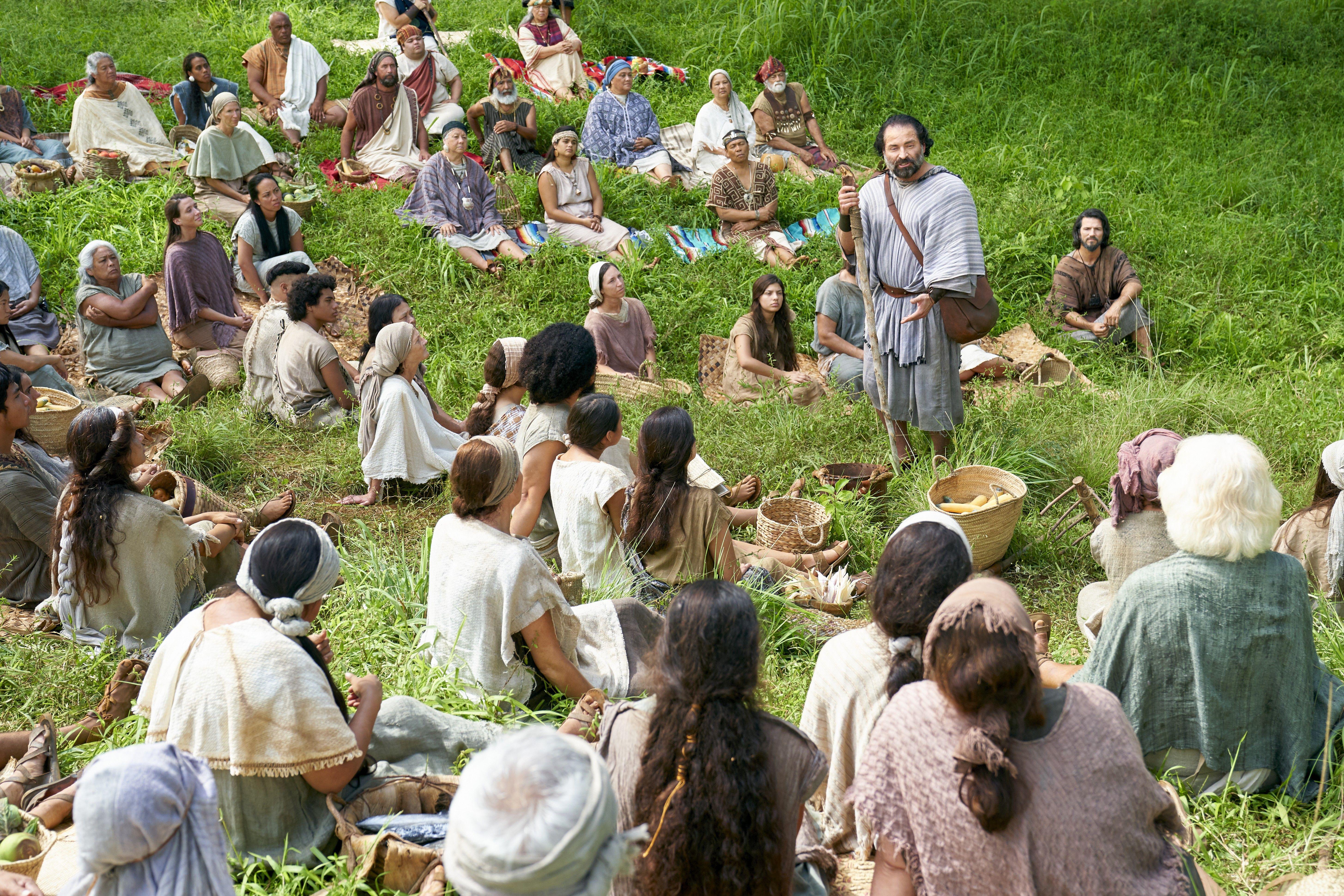 Amulek teaches the Zoramites in the land of Antionum.