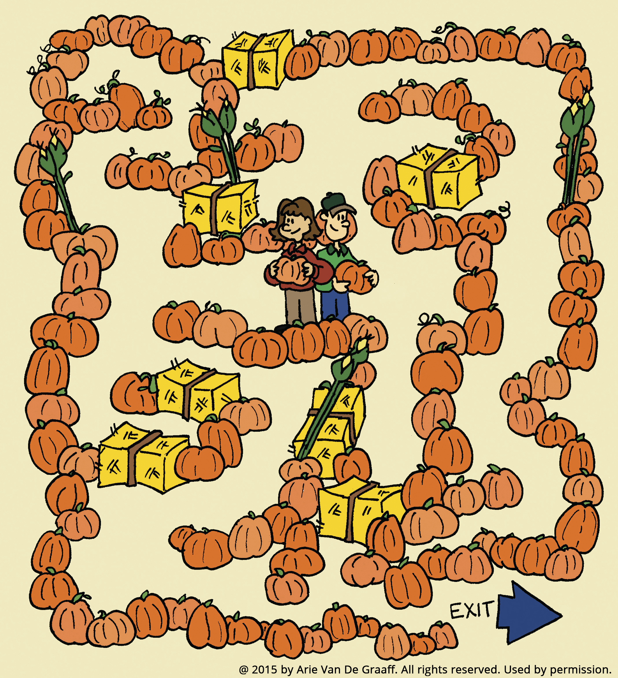 A pumpkin-patch maze starting with two people standing in the middle.