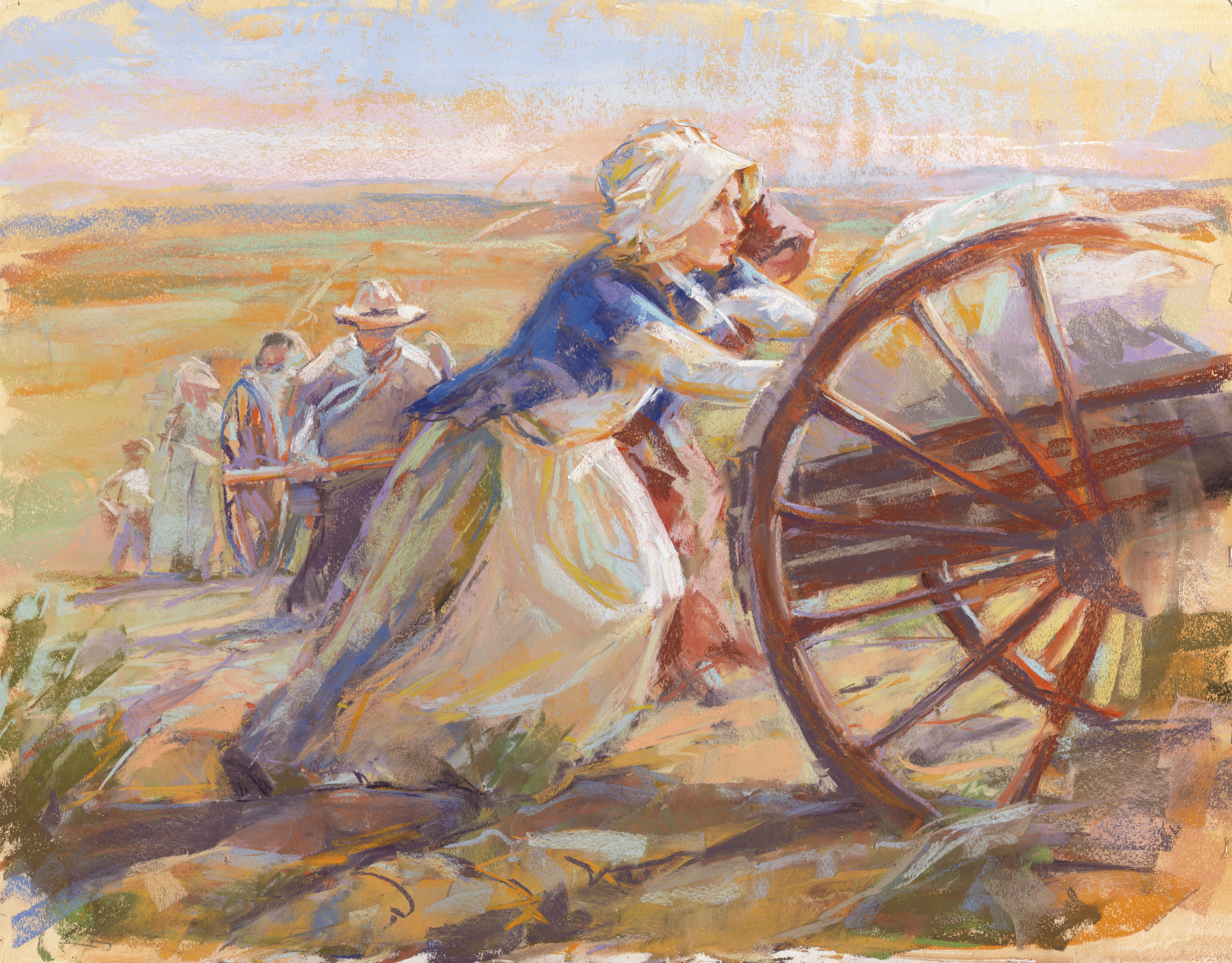 A depiction of pioneer women pushing a handcart, by Julie Rogers.