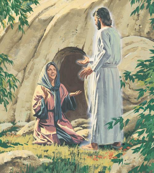 Mary Magdalene kneeling before Jesus