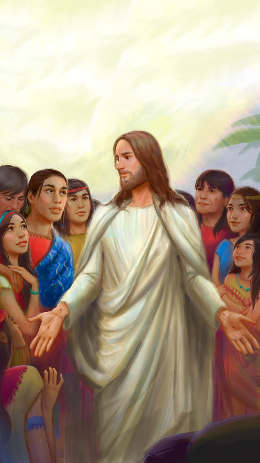 An illustration of the resurrected Jesus Christ standing among the Nephites.