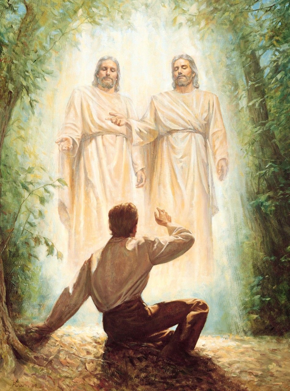A painting by Del Parson of Joseph Smith kneeling in a grove of trees while looking up to see God the Father and Jesus Christ standing in the air in white robes with outstretched arms.
