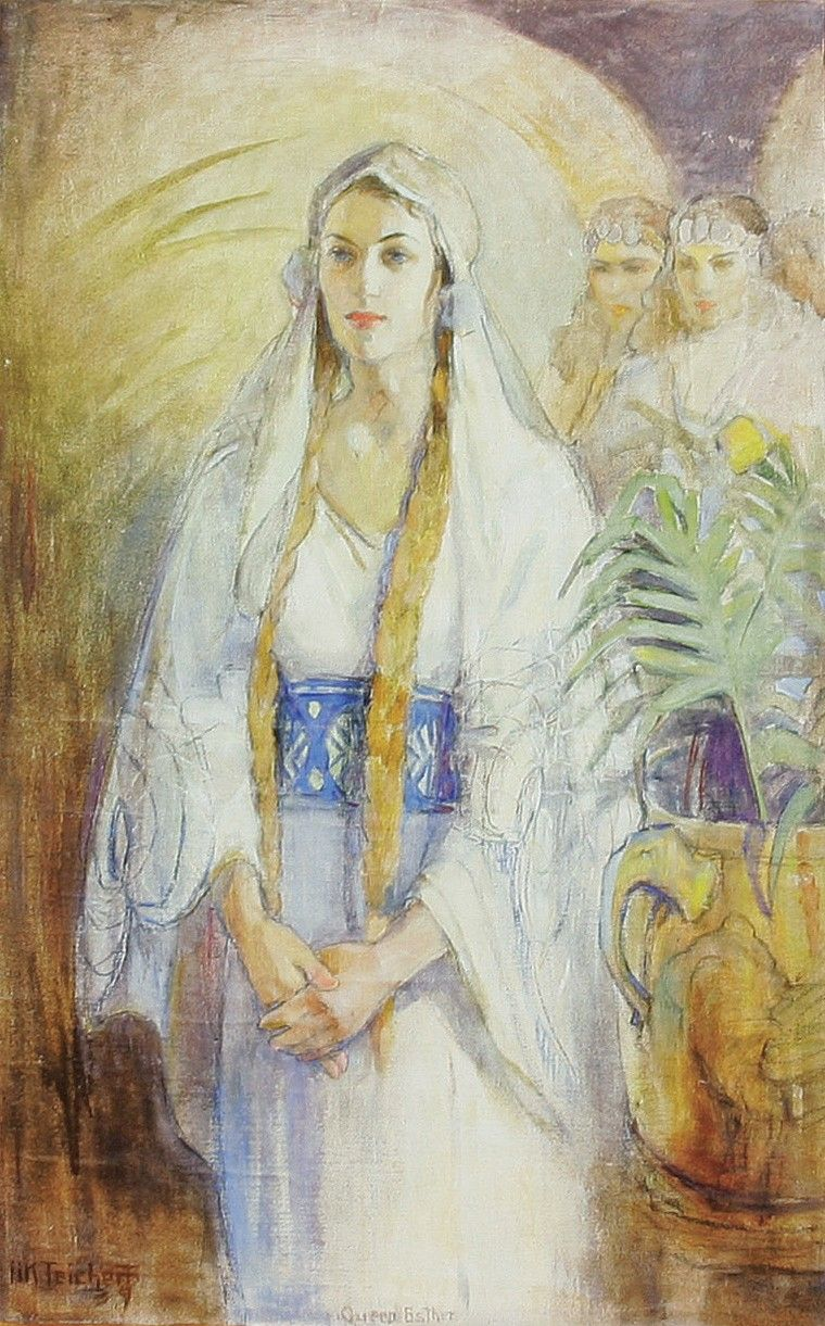 Esther (Queen Esther), by Minerva Kohlhepp Teichert; GAK 125; GAB 21; Primary manual 6-44; Esther 3:8–15; 4; 7