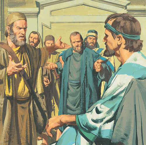 men shouting at Apostles