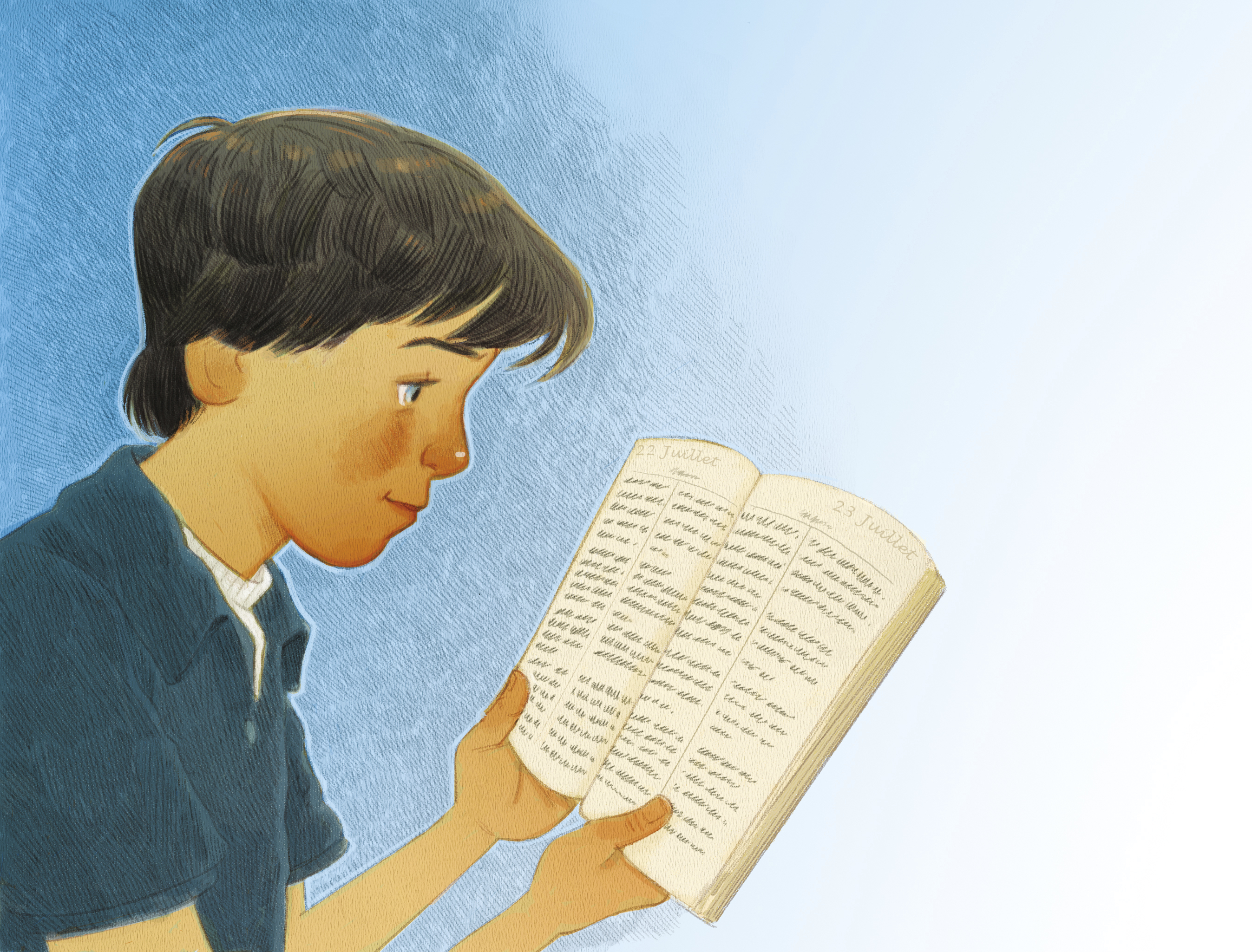 A boy holds open a set of scriptures and reads from them.