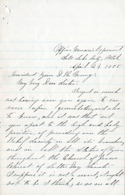 Letter from Emmeline B. Wells to Zina D. H. Young.