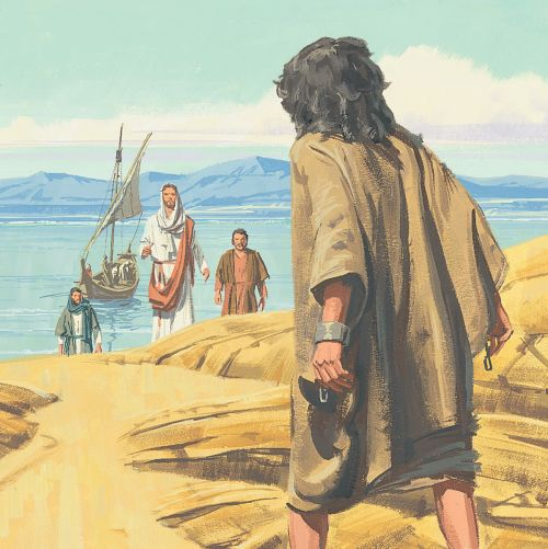 Jesus walking toward man