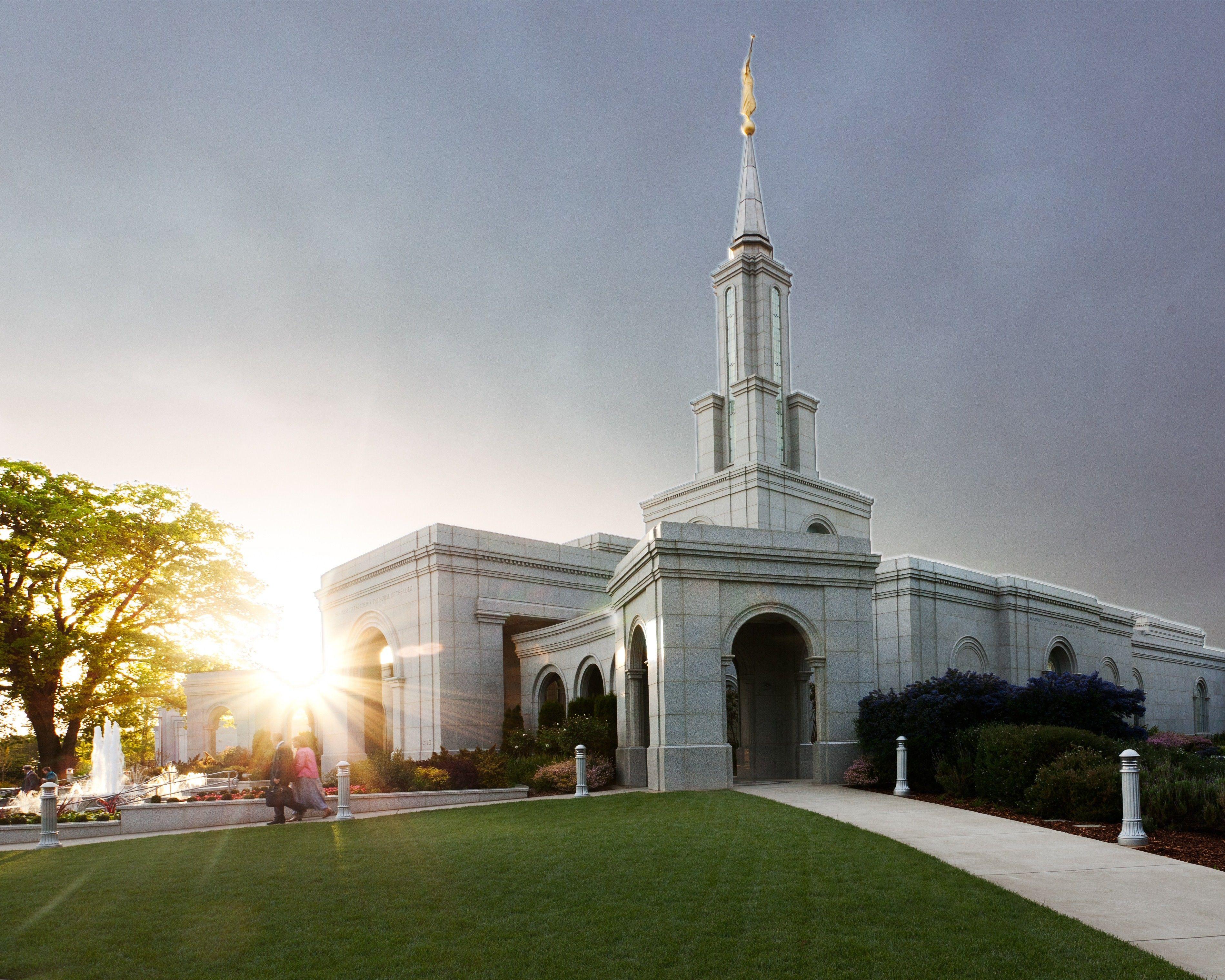 The Sacramento California Temple entrance, including scenery.