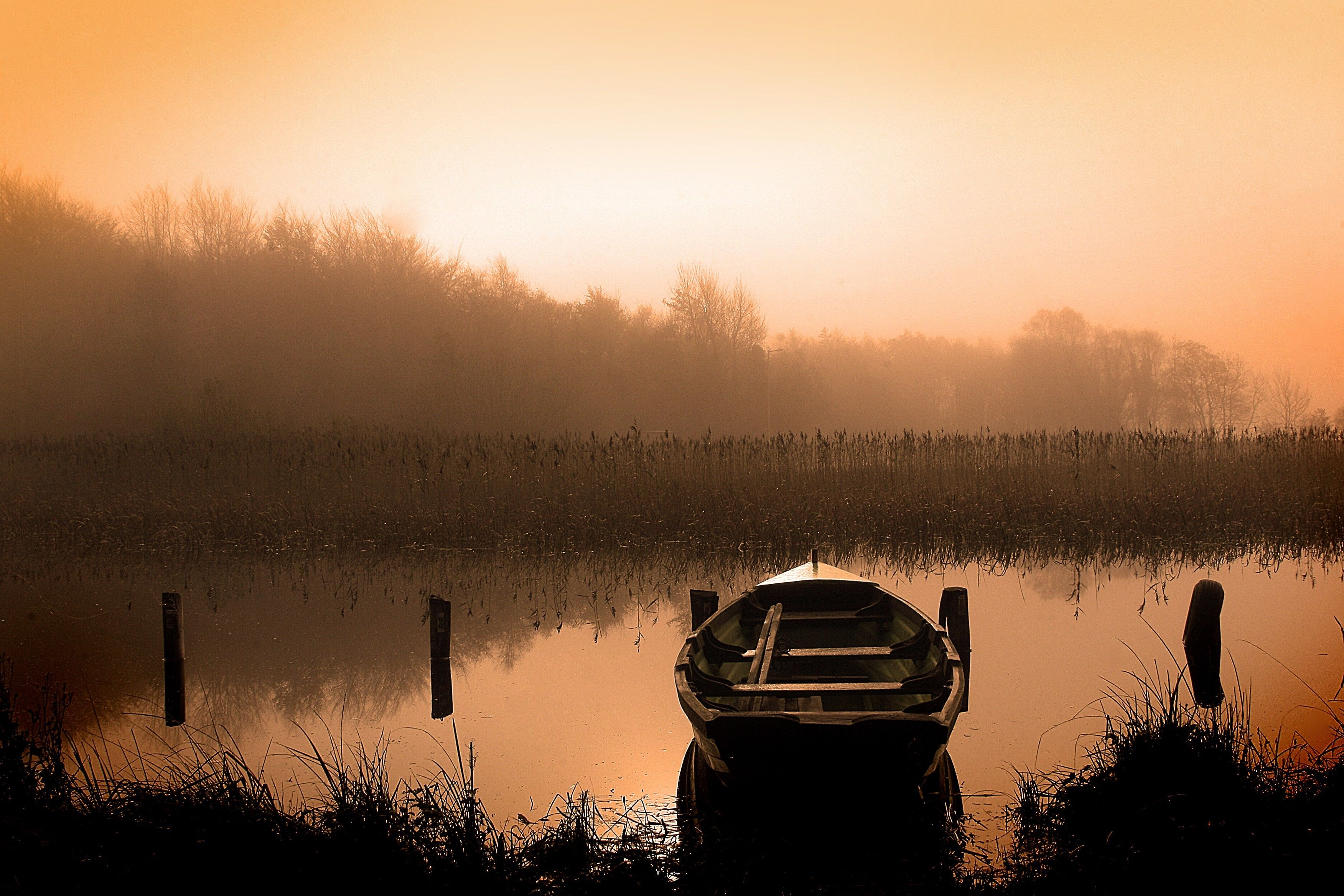 The sun rises over a lake with a rowboat.