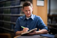 Reading and study. Adult. Male
