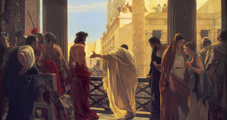 A painting of Christ being presented to the Jews by Pontius Pilate.