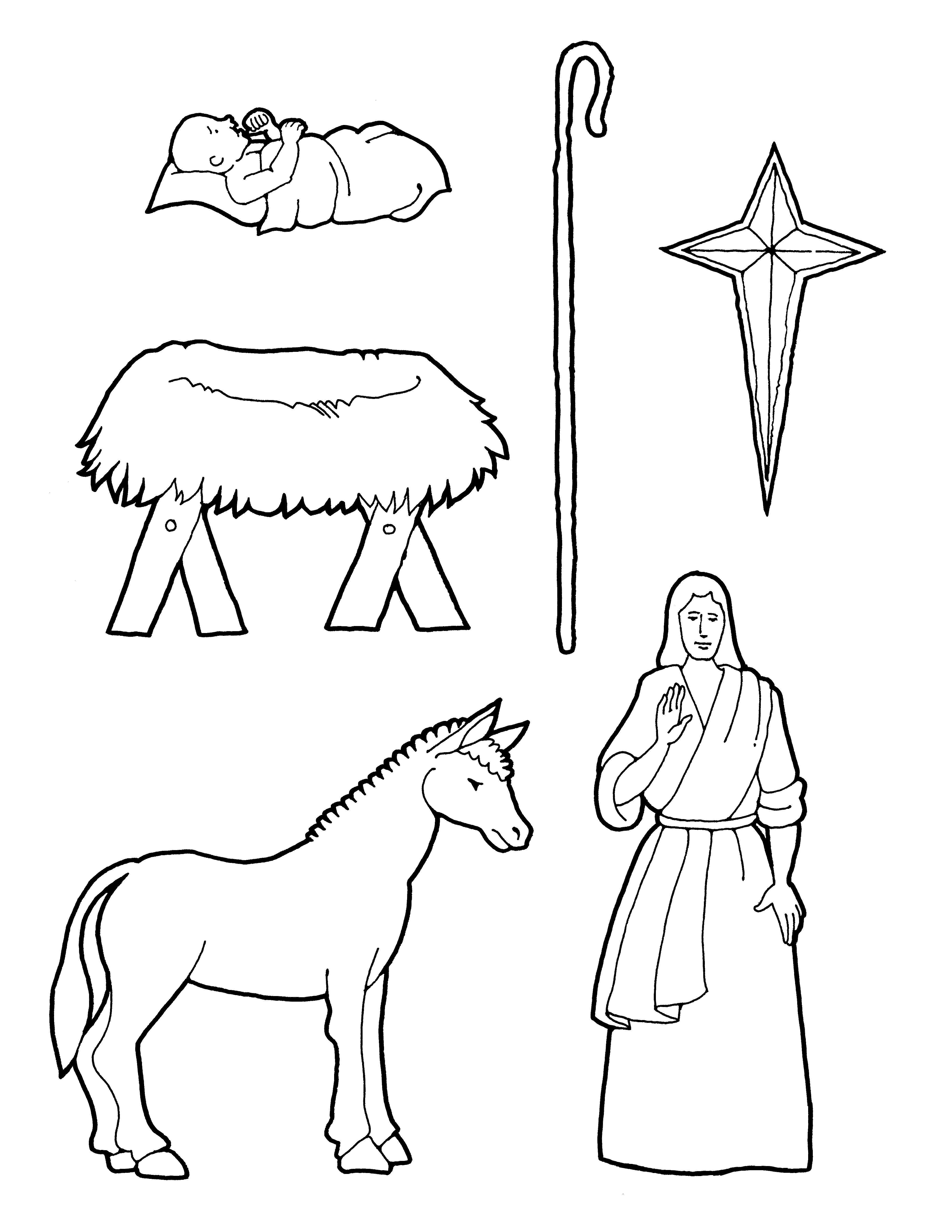 A coloring page of Nativity pieces.