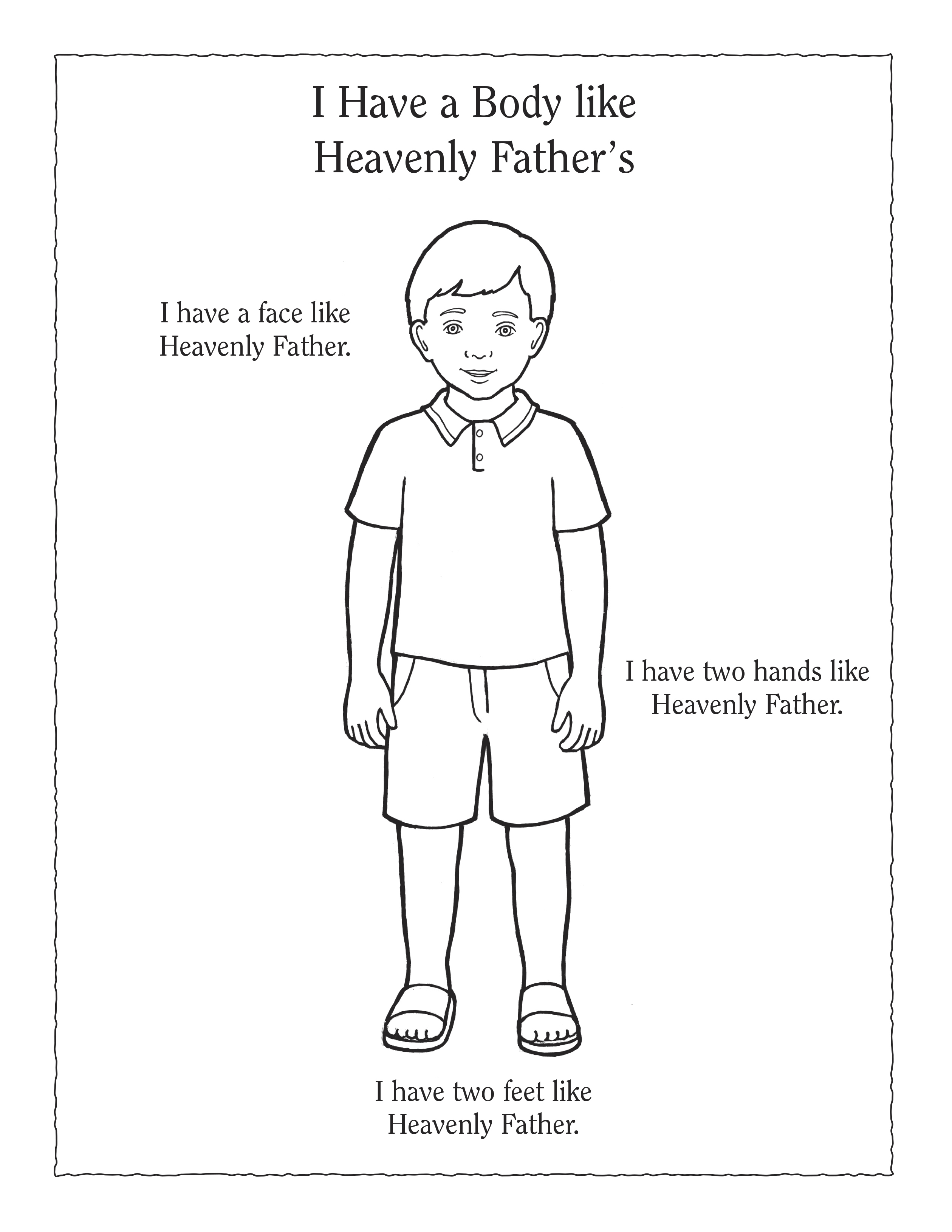 "A black-and-white illustration of a Primary-age boy wearing shorts and a polo shirt, next to the words ""I Have a Body like Heavenly Father's""."