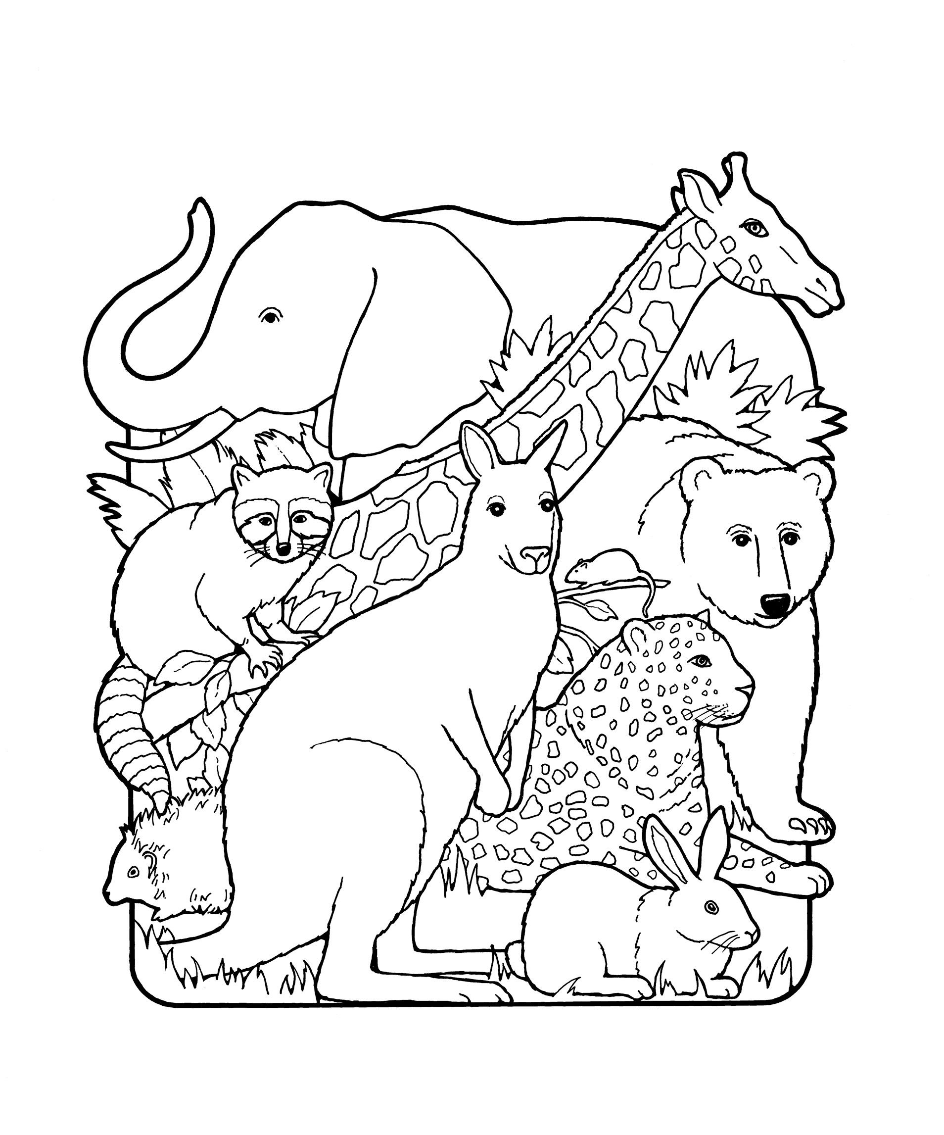 An illustration of various animals.