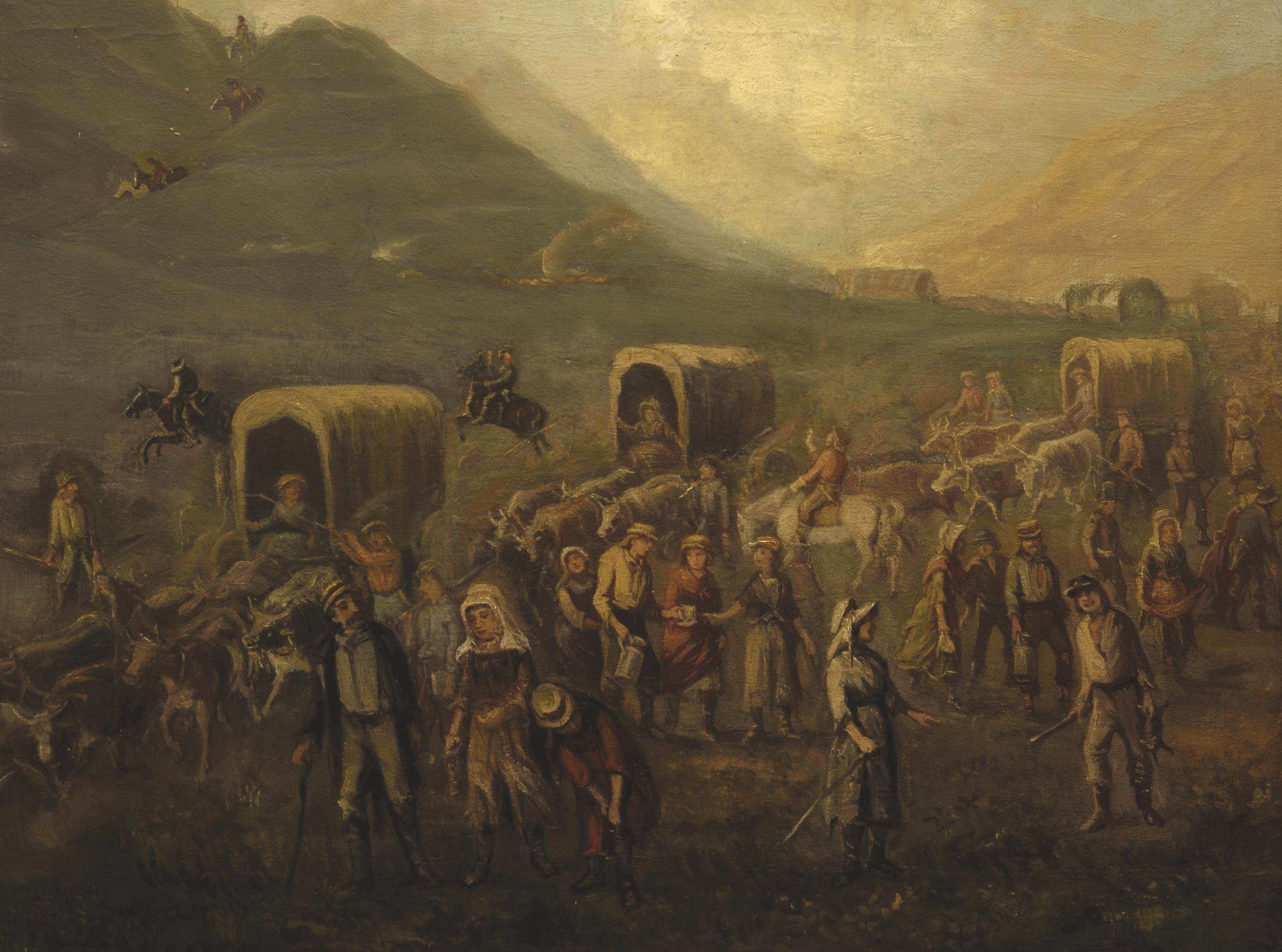Mormon Emigrants Crossing the Plains in 1862, by Danquart Anthon Weggeland