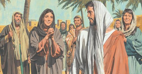 woman smiling at Jesus