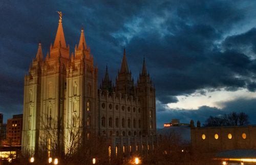 Salt Lake Temple with spires unlit