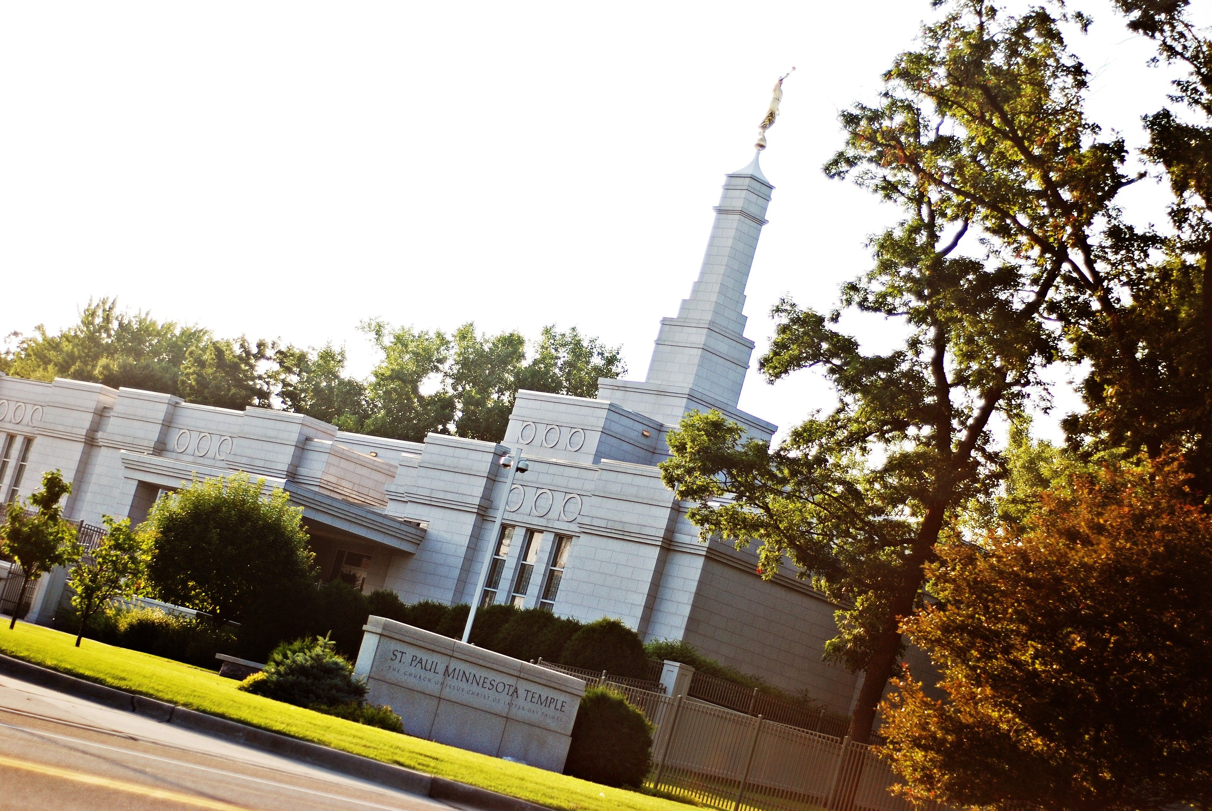 The St. Paul Minnesota Temple, including the name sign, entrance, and scenery.