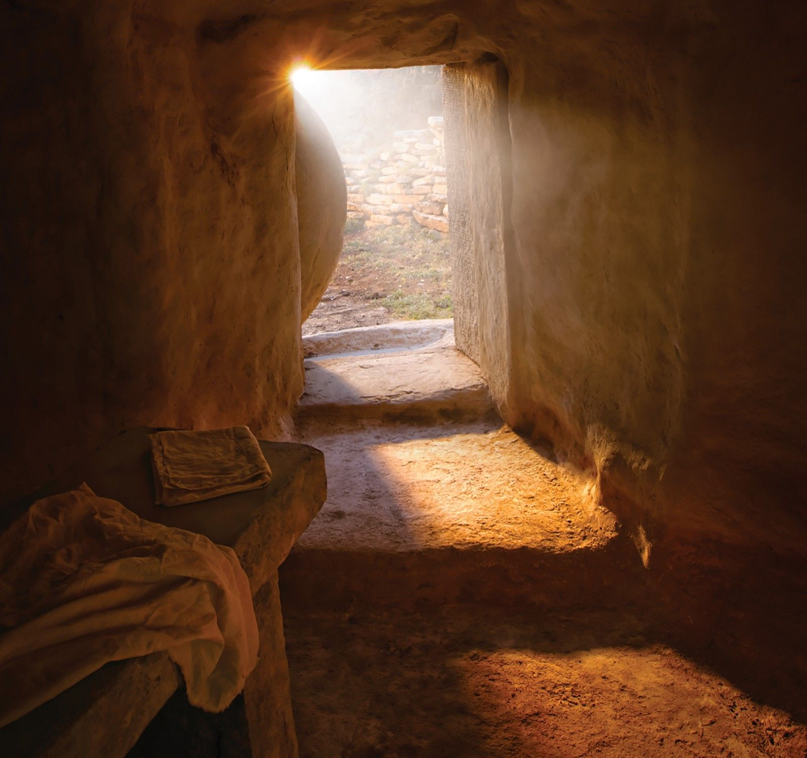 A portrayal of Christ's empty tomb after his resurrection.