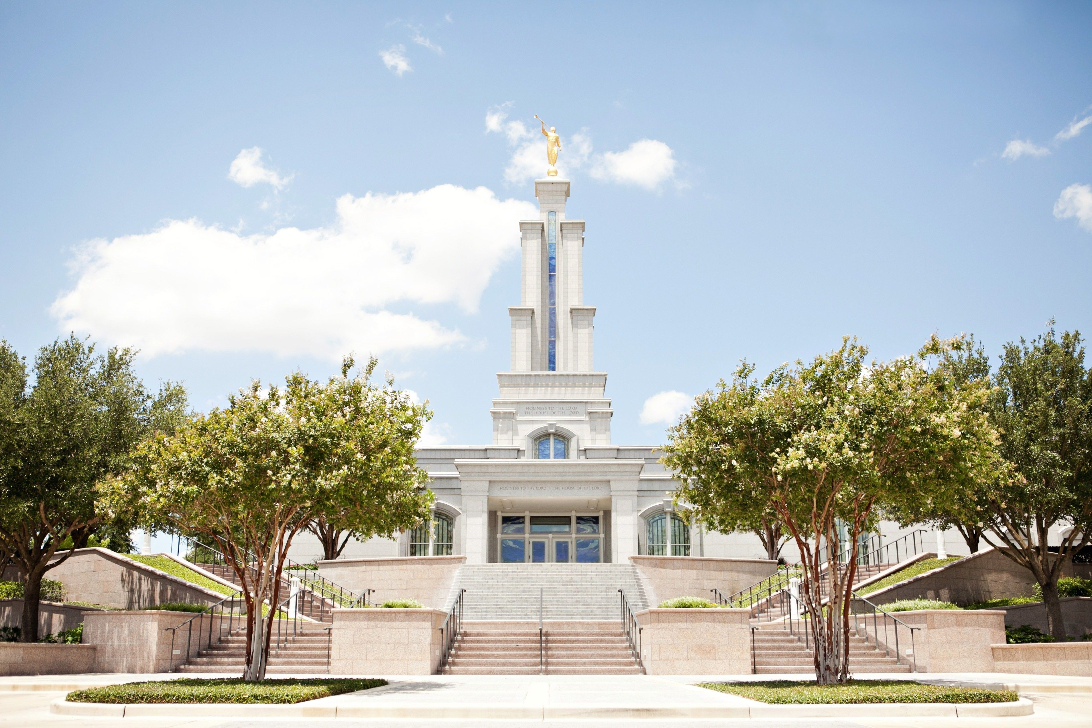The San Antonio Texas Temple, including the entrance and scenery.