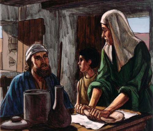 widow making bread