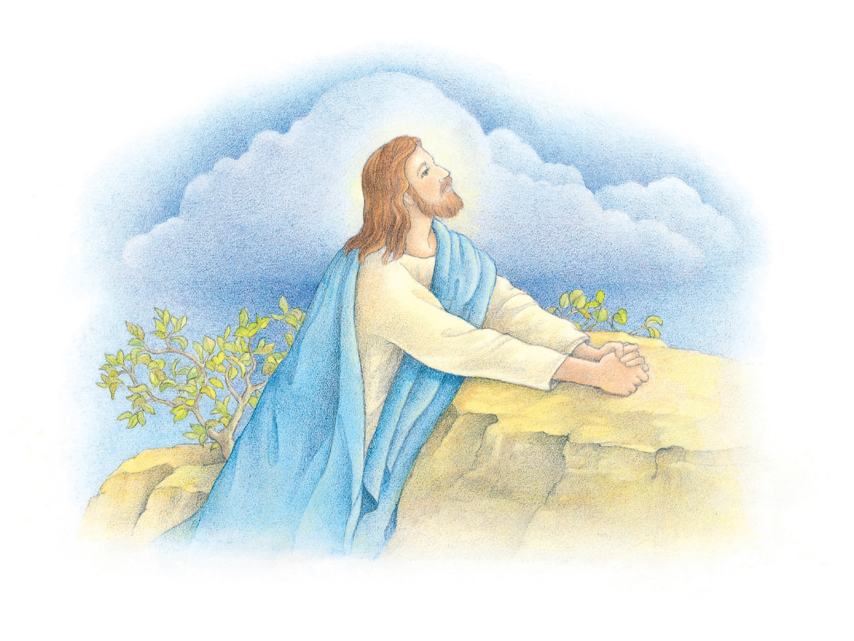 "Christ praying in the Garden of Gethsemane. From the Children's Songbook, page 123, ""The Third Article of Faith""; watercolor illustration by Beth Whittaker."