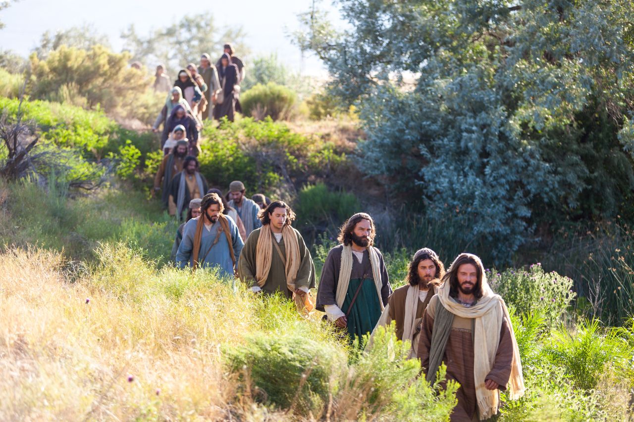 Jesus with His disciples following Him