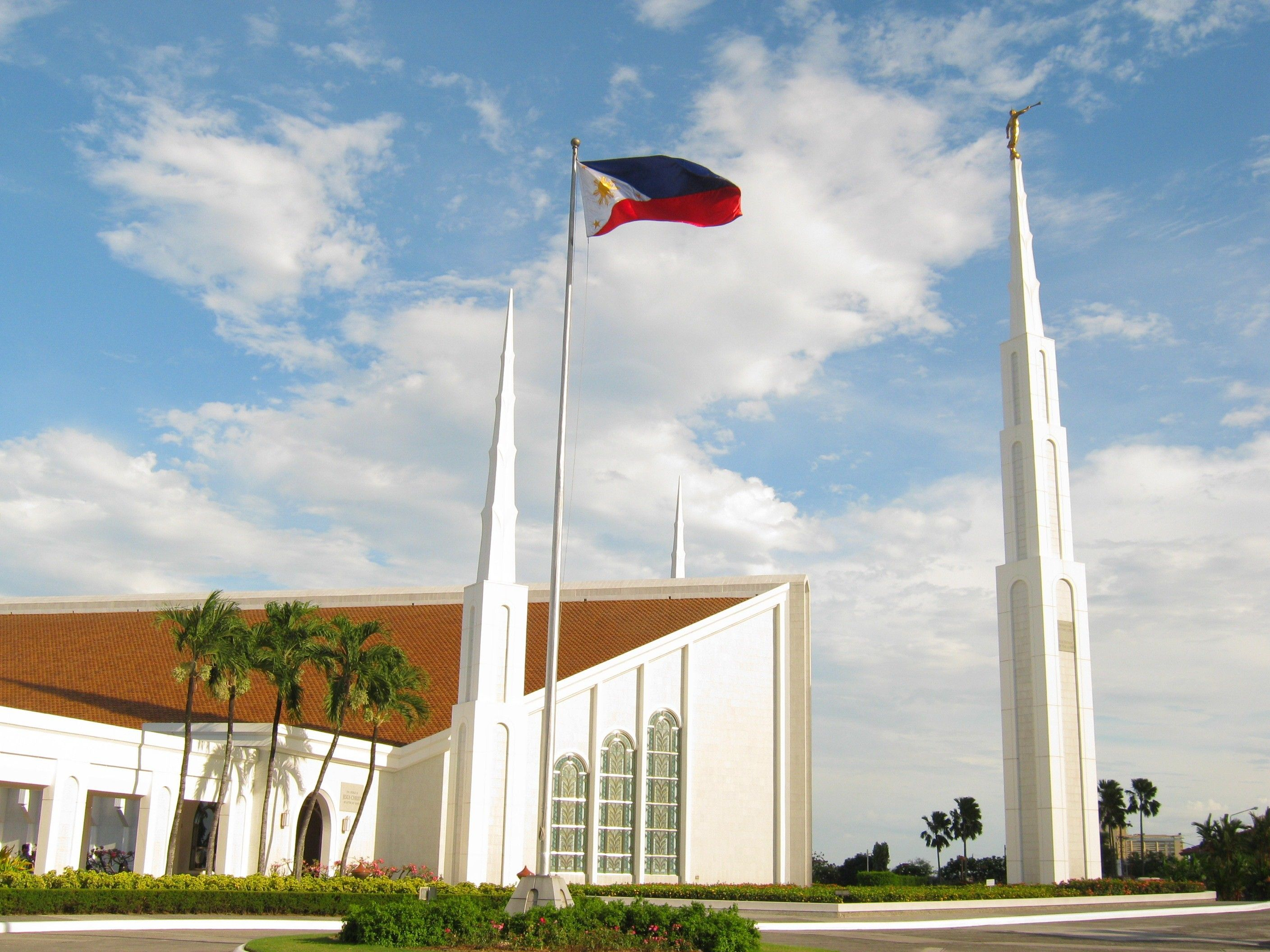 The Manila Philippines Temple, including the entrance and spires.