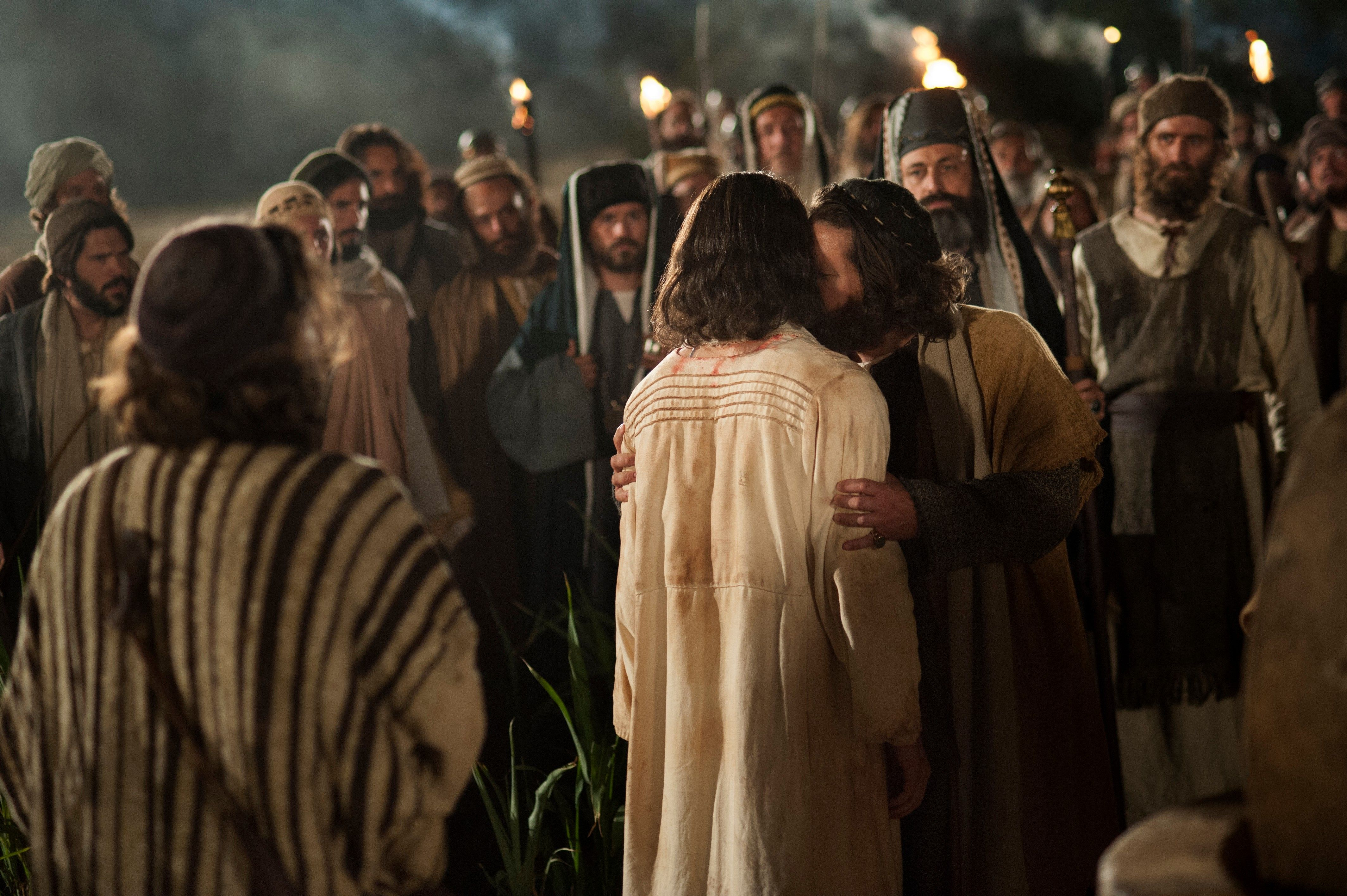 Judas gives Christ a kiss on the cheek as a sign to the soldier that Jesus is the one who should be arrested.