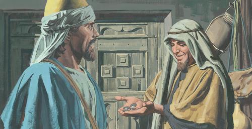 man giving servant money
