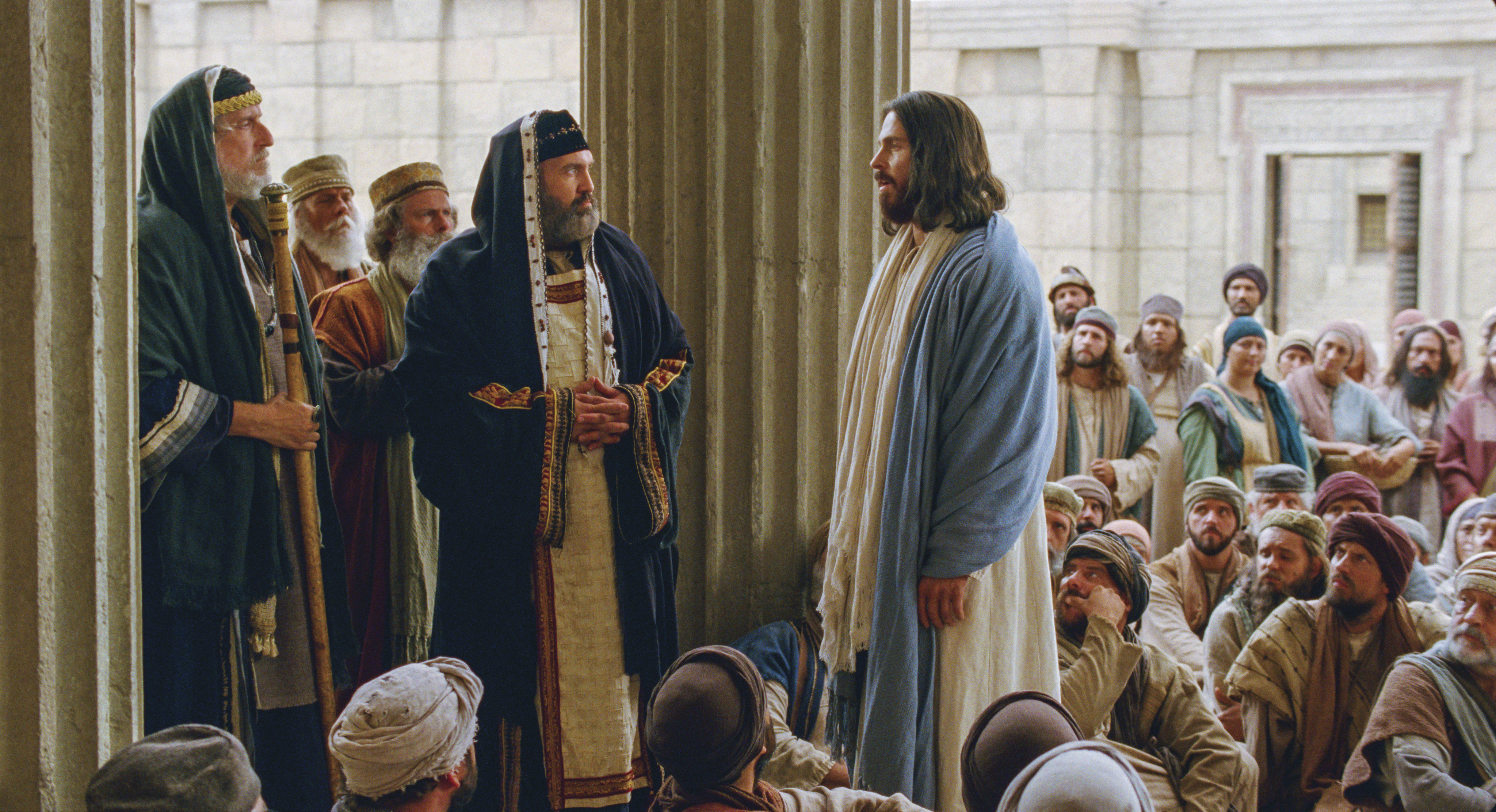 The chief priests question Christ's authority.