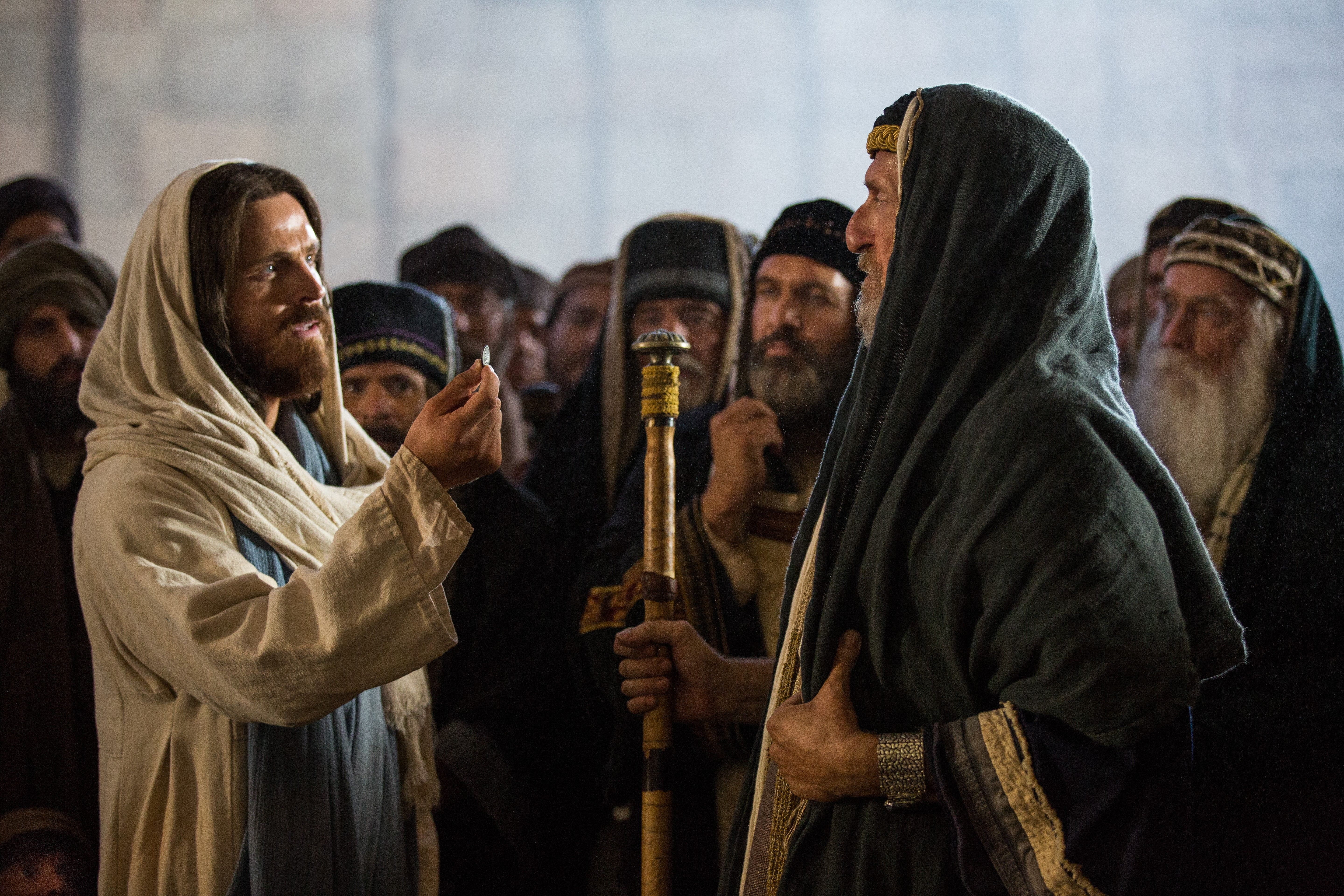 """Jesus telling the Pharisees to """"render to Caesar the things that are Caesar's, and to God the things that are God's."""""""