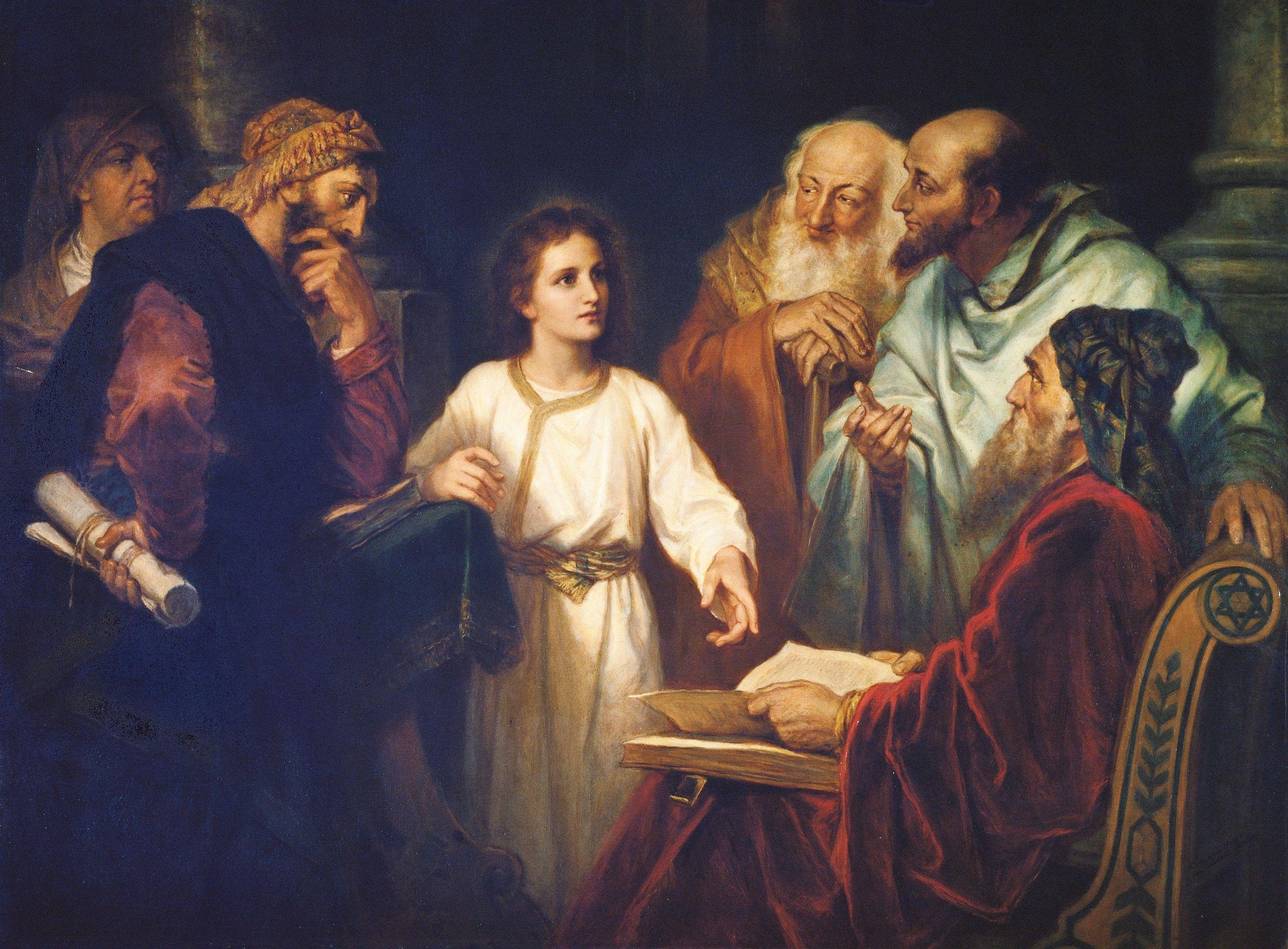 Boy Jesus in the Temple (Christ in the Temple), by Heinrich Hofmann (62500); GAK 205; GAB 34; Primary manual 1-17; Primary manual 2-13; Primary manual 7-06; Luke 2:41–52; Joseph Smith Translation, Luke 2:46 (in Luke 2:46, footnote c)