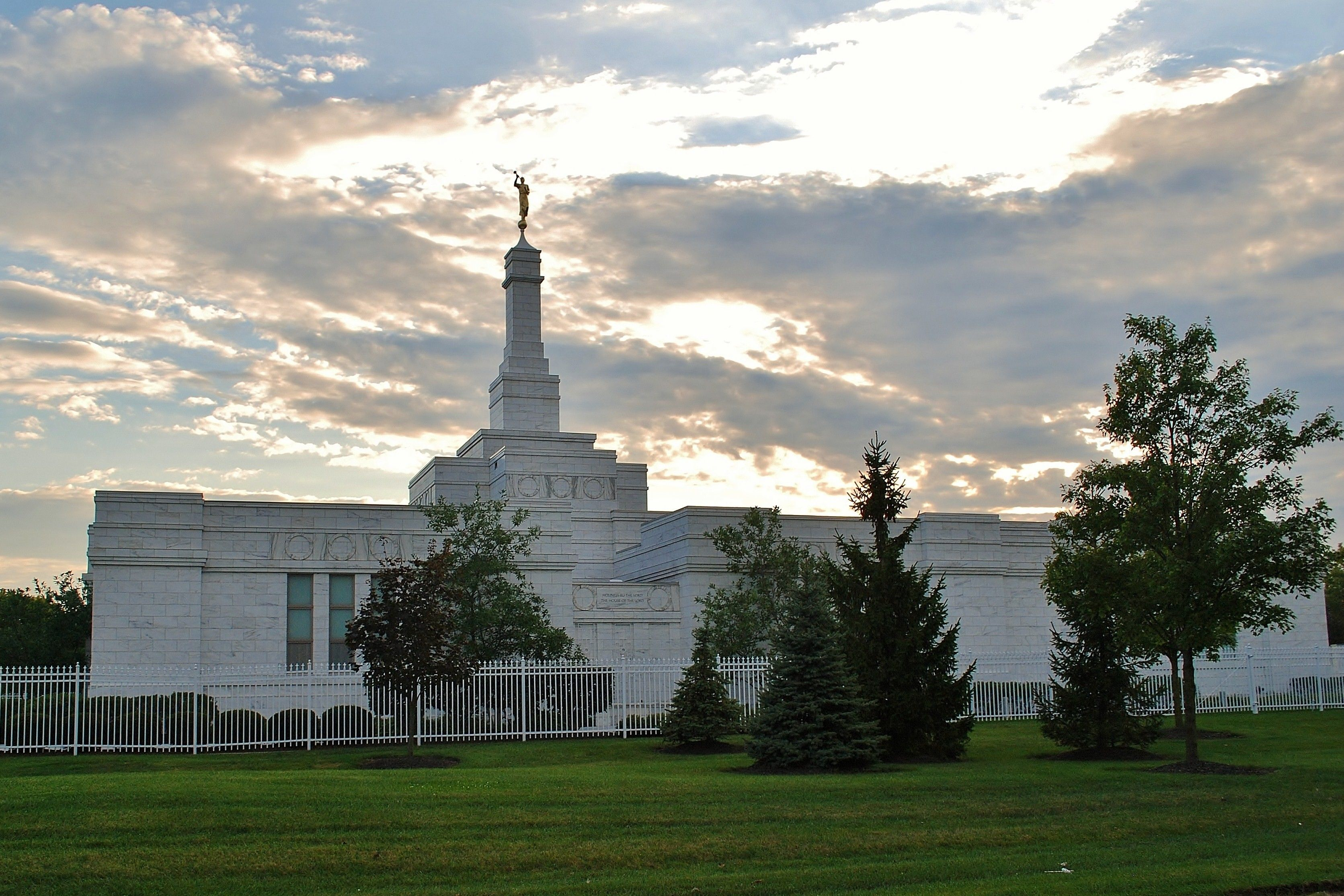 A view of the Columbus Ohio Temple from the grounds in the evening.