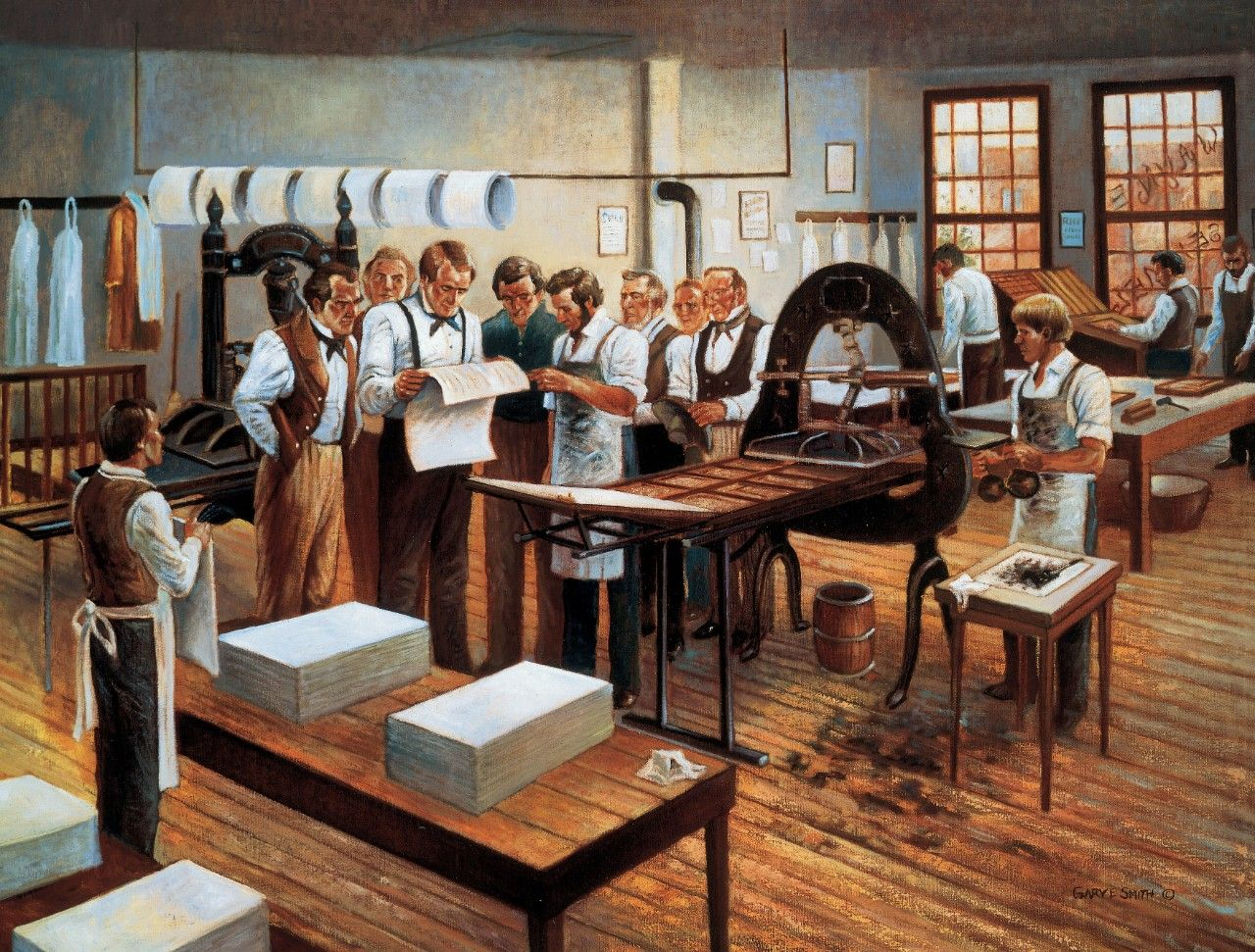 Printing of the First Book of Mormon (Printing of the Book of Mormon), by Gary E. Smith; Primary manual 5-19